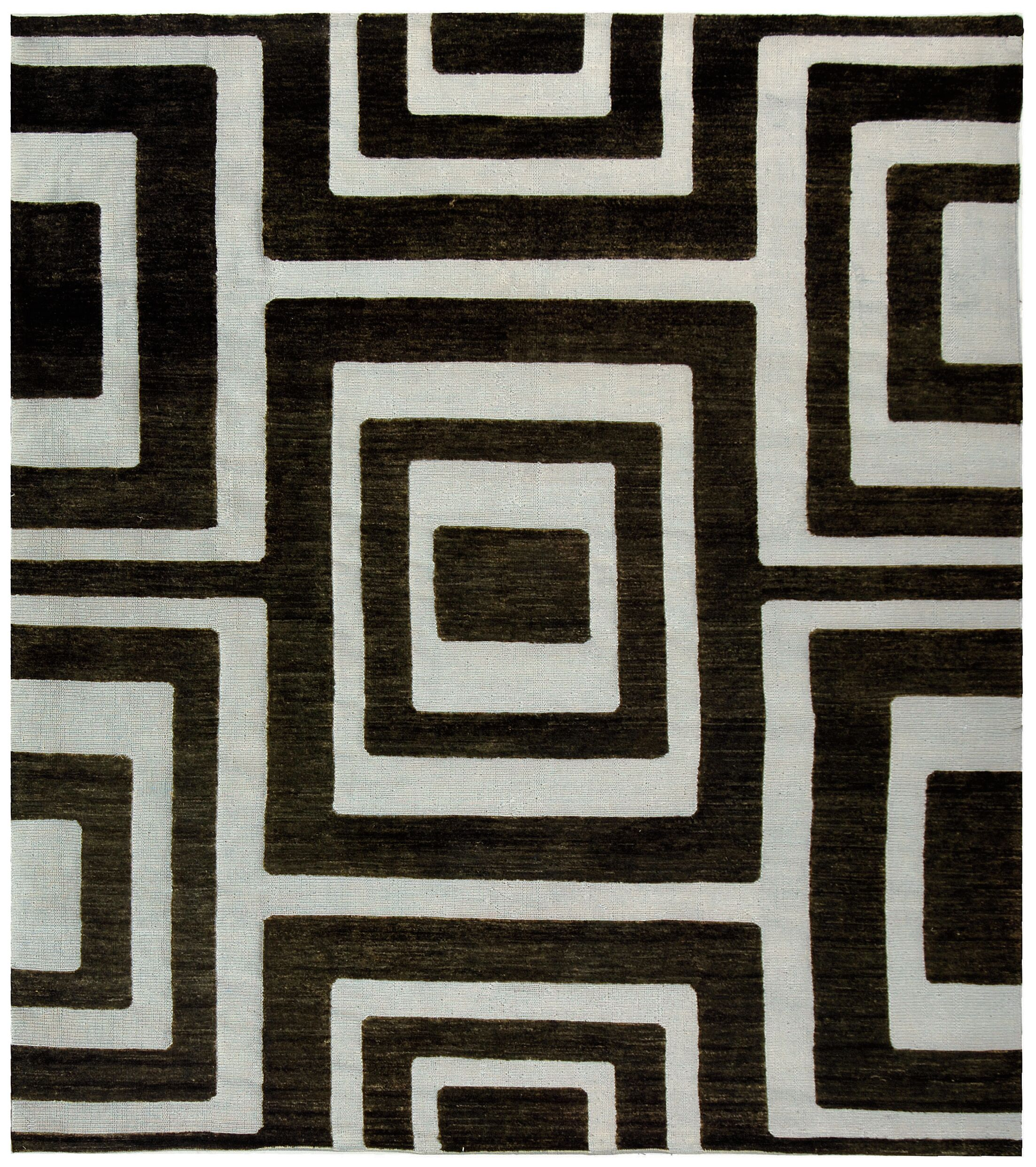 Santa Fe Silver/Black Area Rug Rug Size: Rectangle 4' x 6'