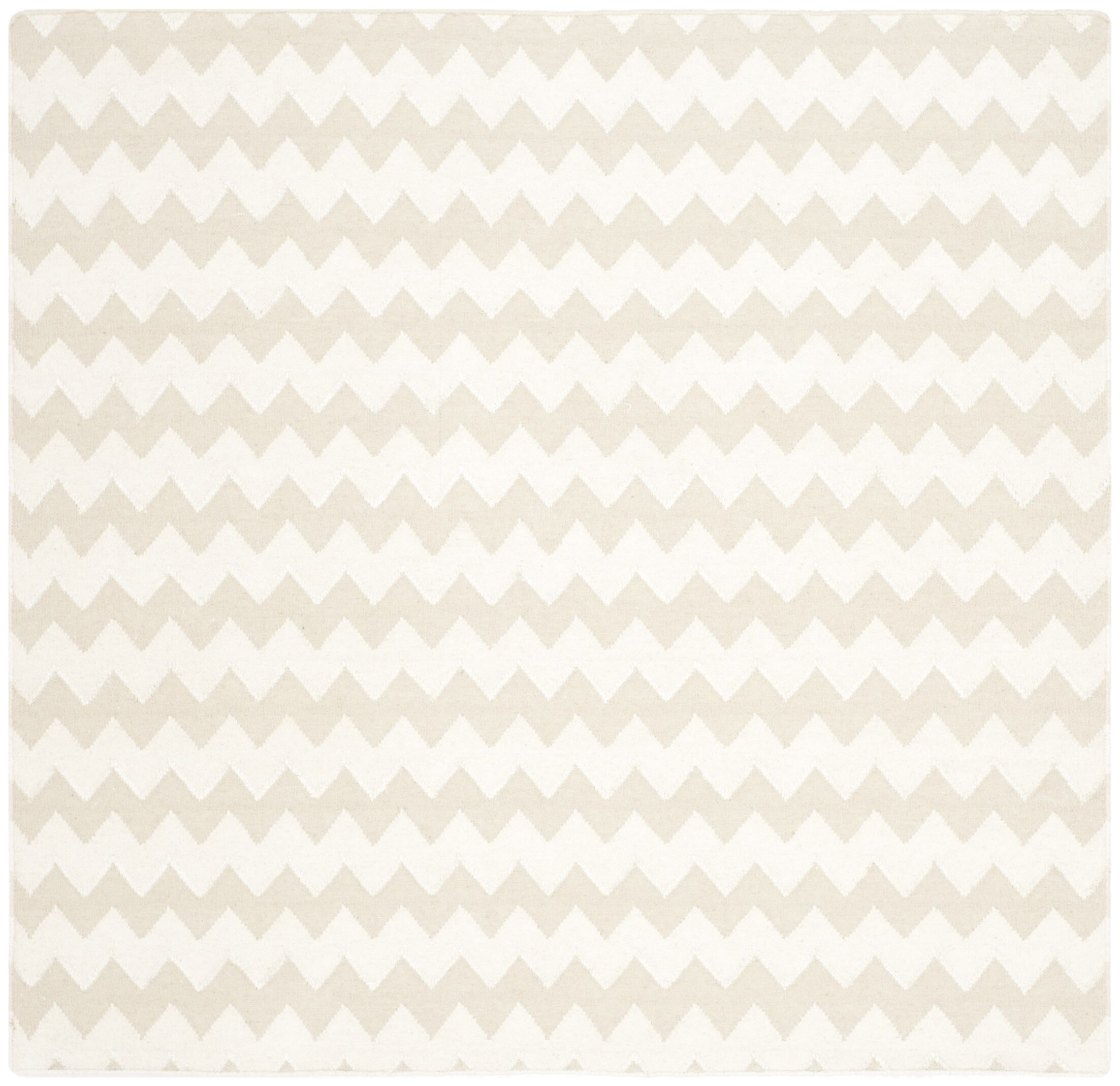 Dhurries Wool Beige/Ivory Area Rug Rug Size: Square 6'