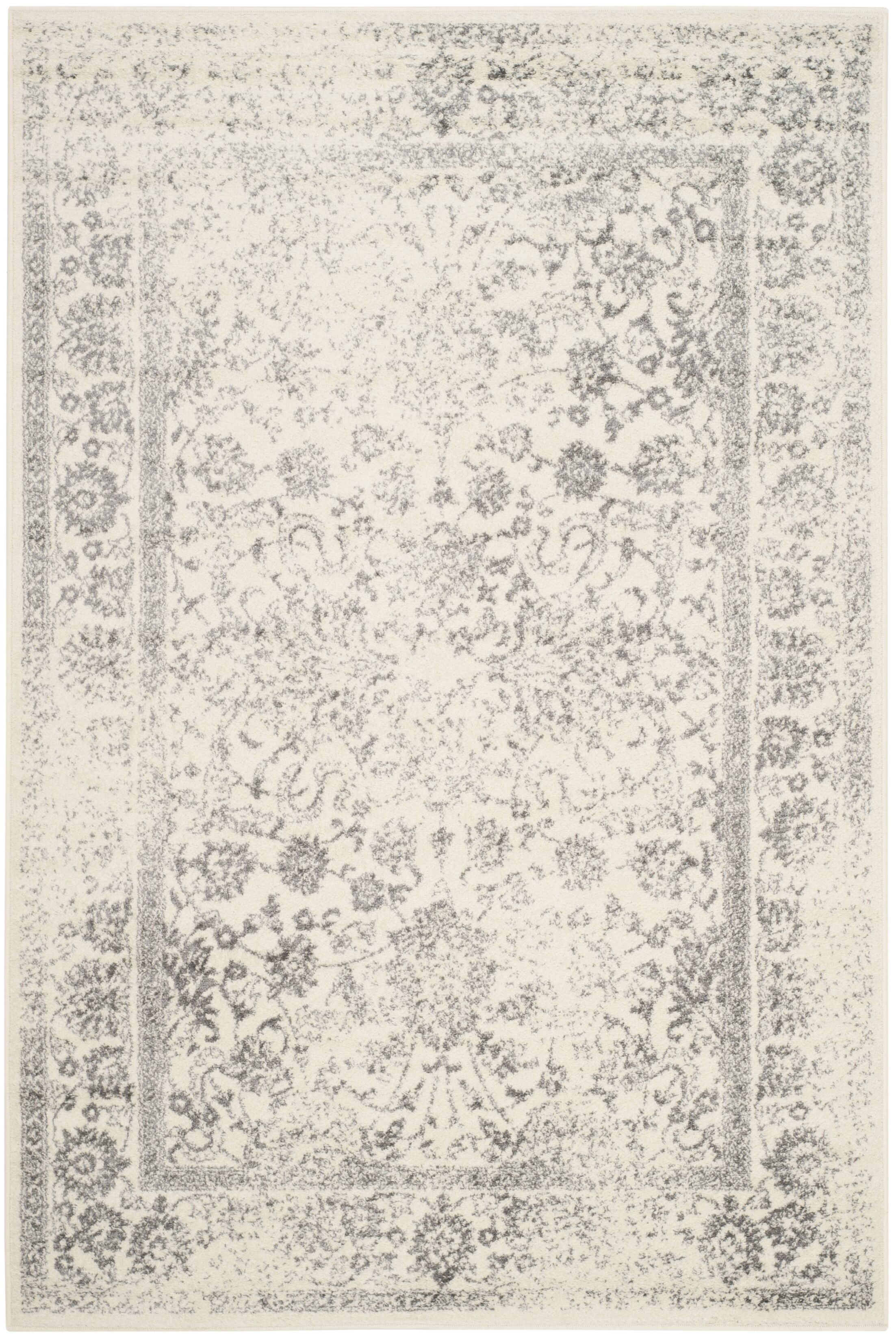 Power Loom Aiken Ivory/Silver Area Rug Rug Size: Rectangle 5'1