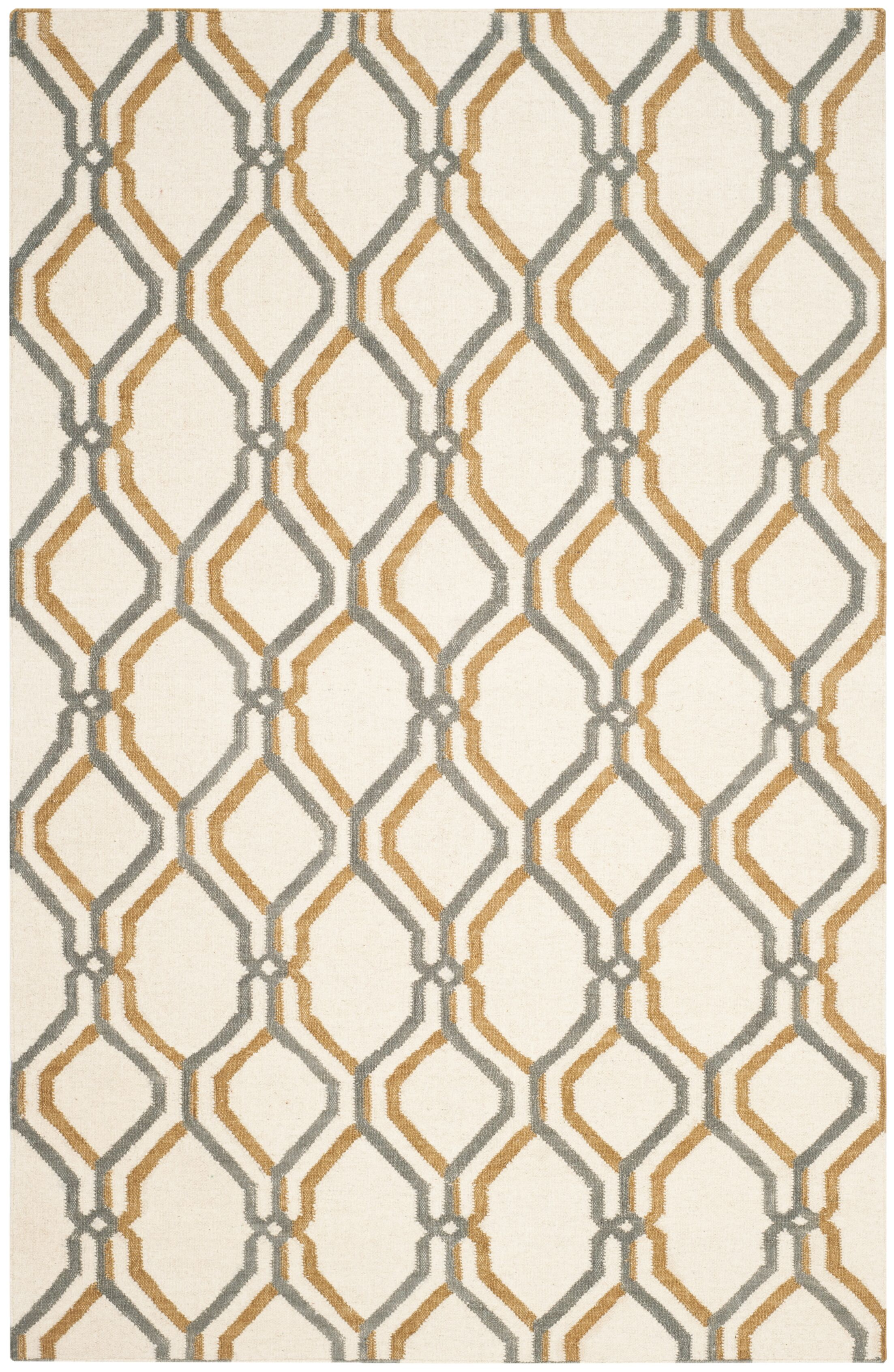 Dhurries Ivory / Blue Area Rug Rug Size: Rectangle 8' x 10'
