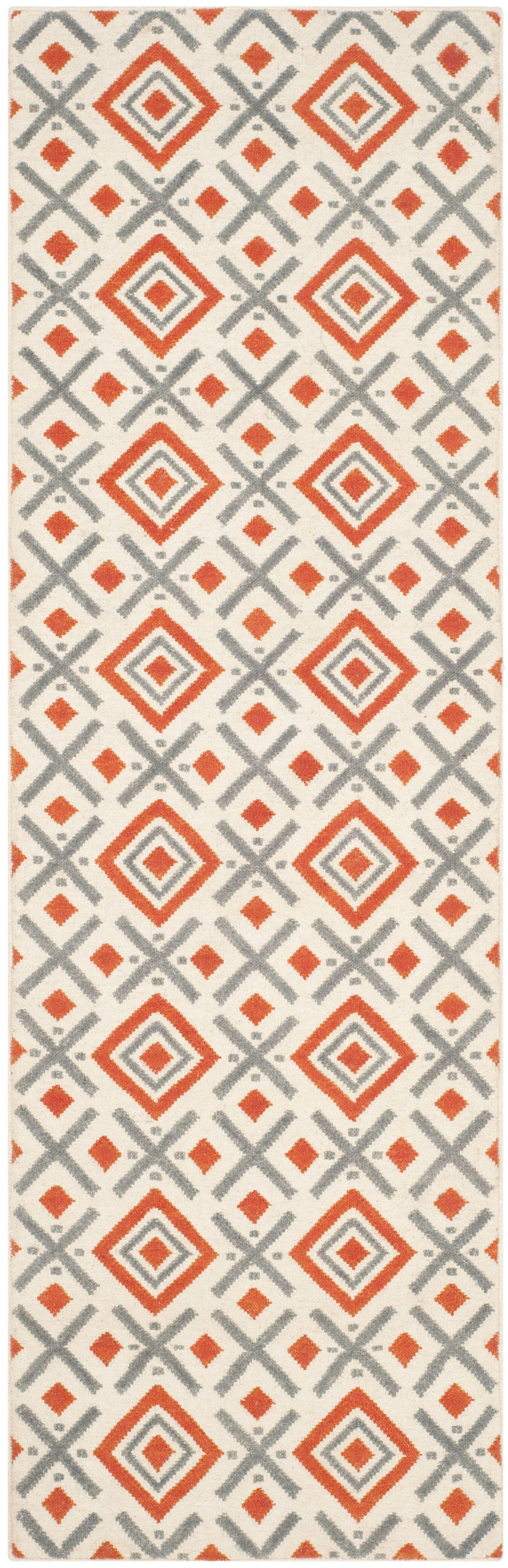 Dhurries Ivory / Tangerine Area Rug Rug Size: Runner 2'6