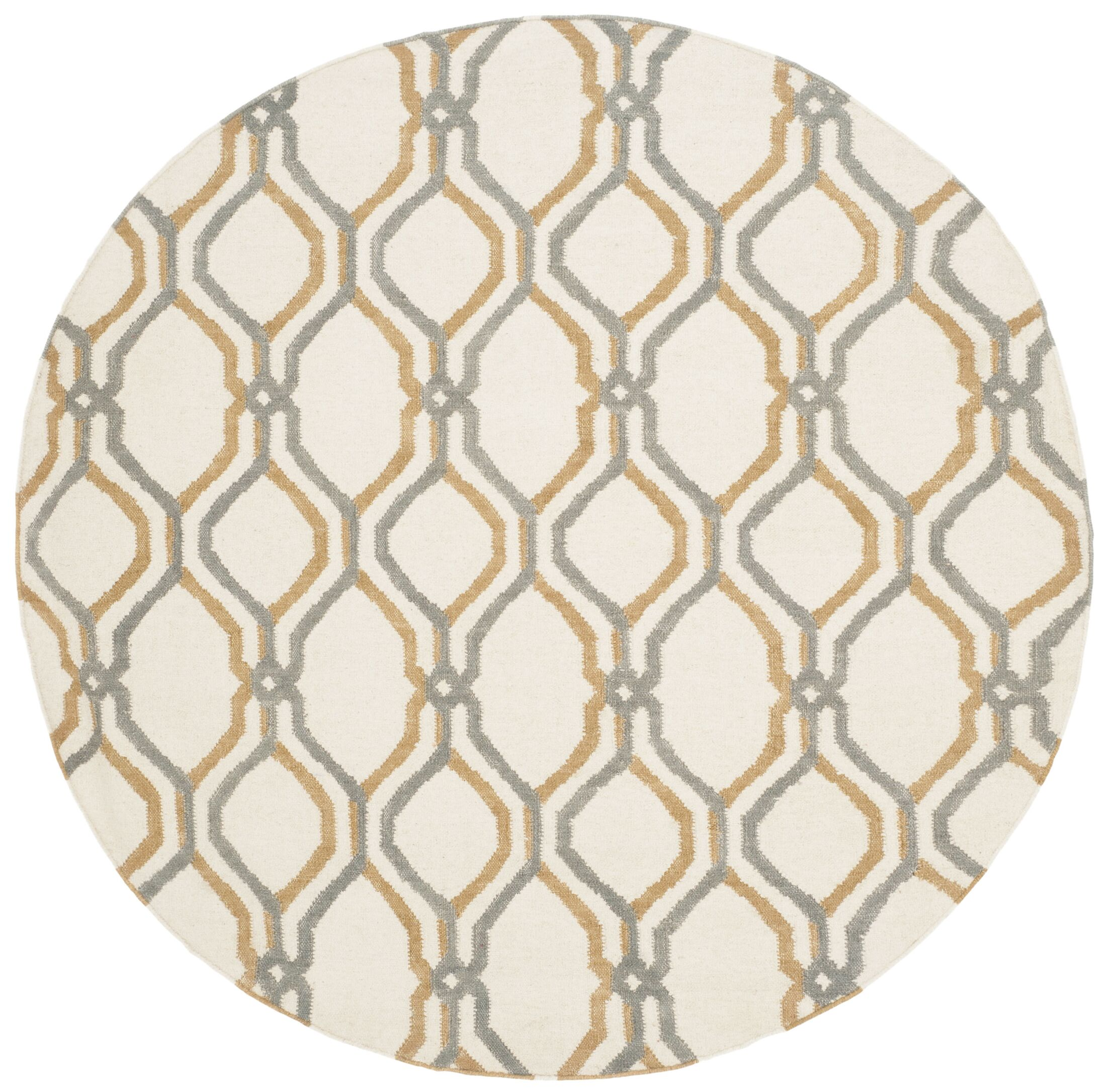 Dhurries Ivory / Blue Area Rug Rug Size: Round 6'