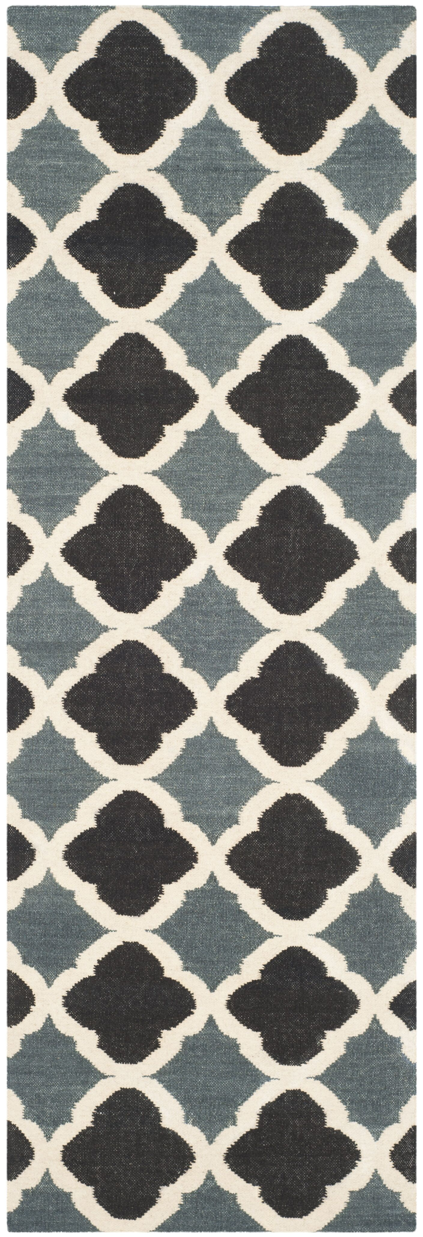 Dhurries Blue / Navy Area Rug Rug Size: Runner 2'6