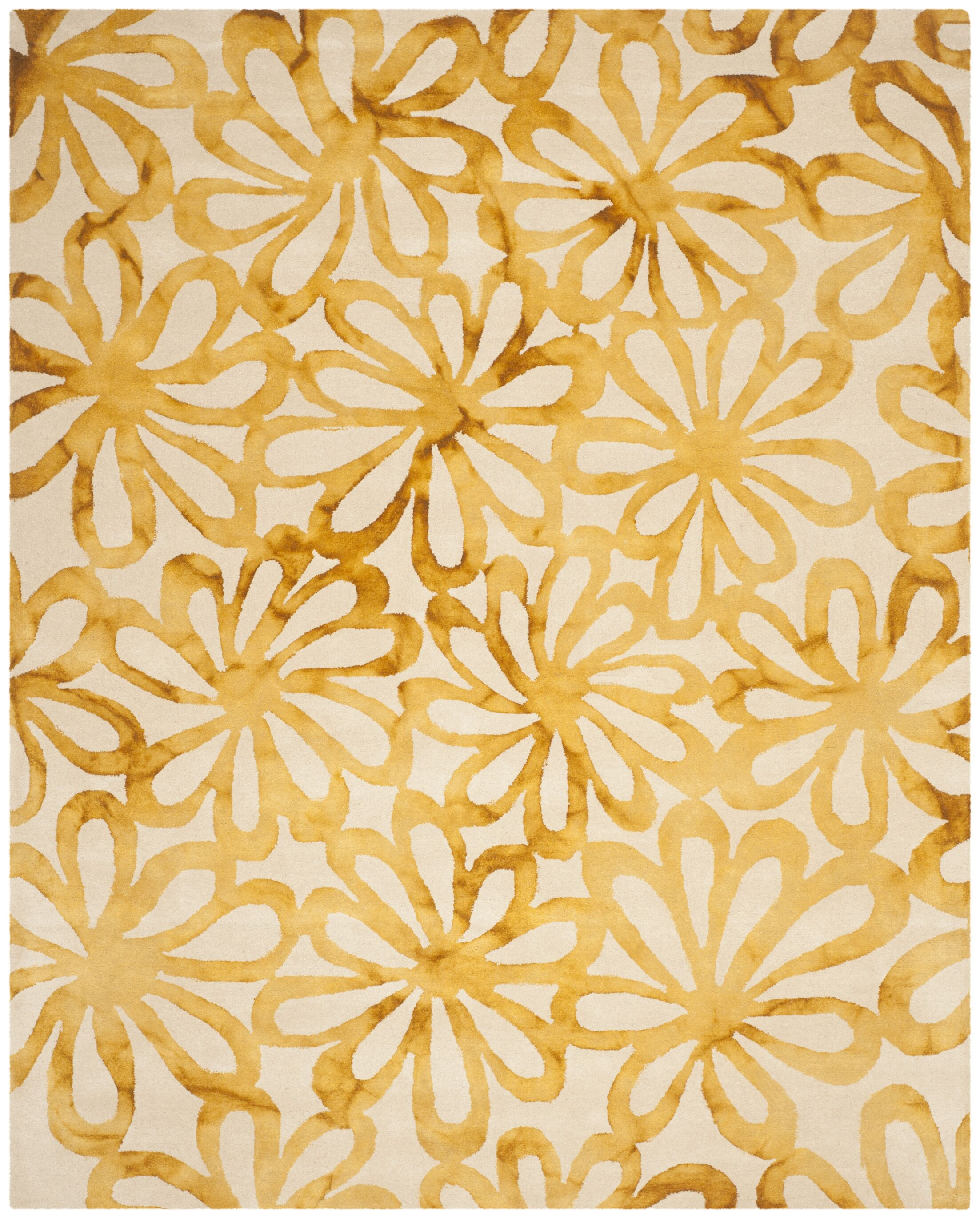 Hand-Tufted Beige & Gold Area Rug Rug Size: Rectangle 8' x 10'