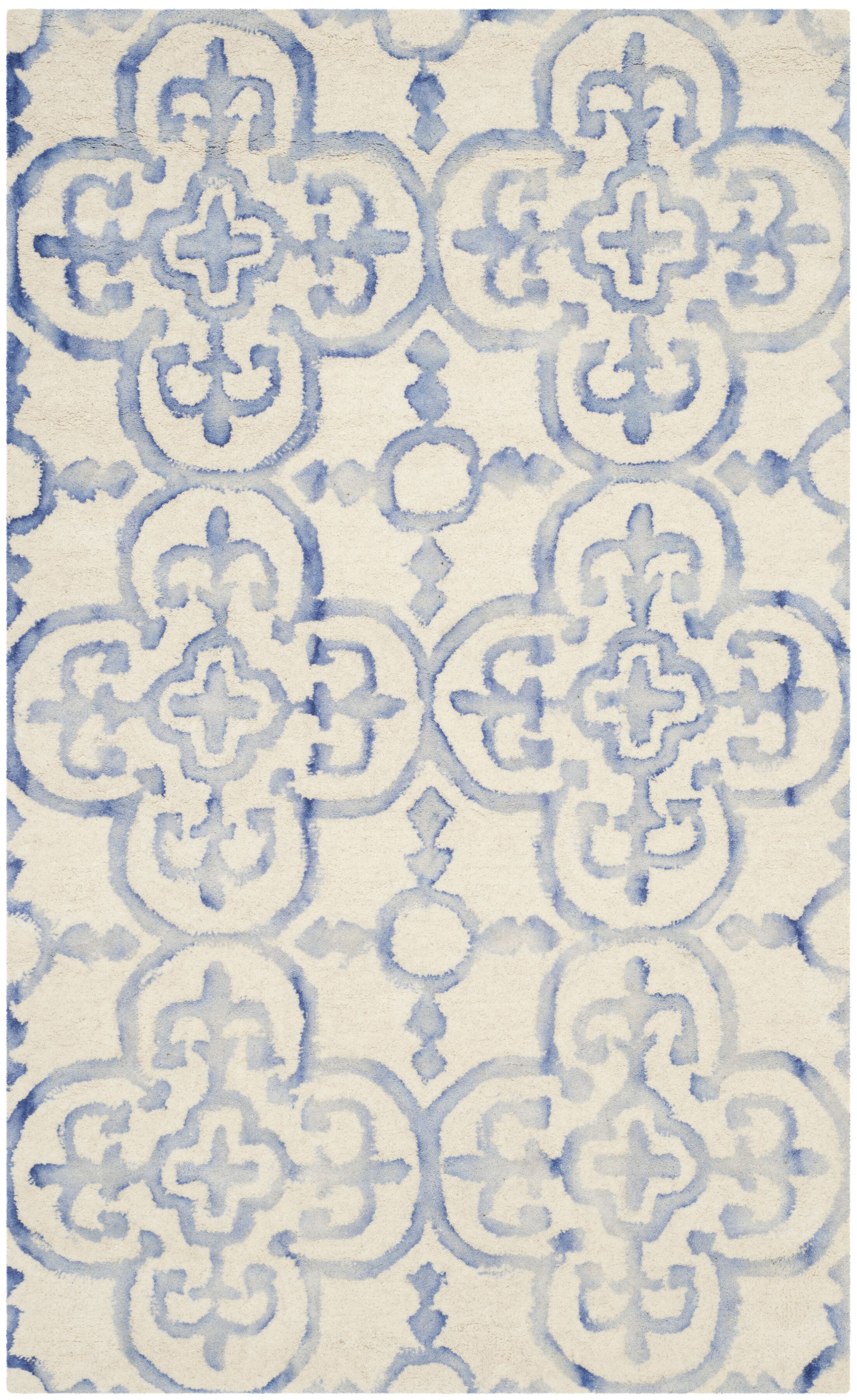 Carter Hand-Tufted Ivory/Blue Area Rug Rug Size: Rectangle 3' x 5'