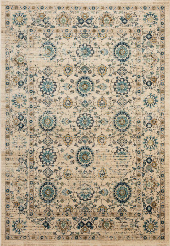 Montelimar Beige/Turquoise Area Rug Rug Size: Rectangle 11' X 16'