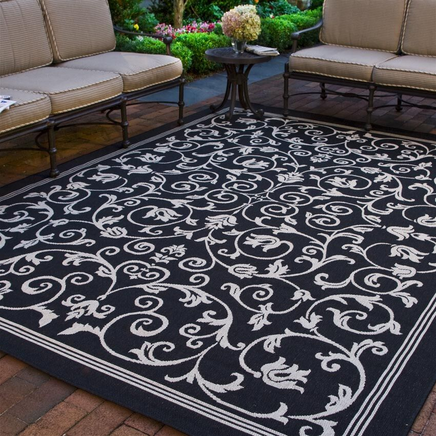 Asheville Black/Sand Outdoor Area Rug Rug Size: Rectangle 8' x 11'