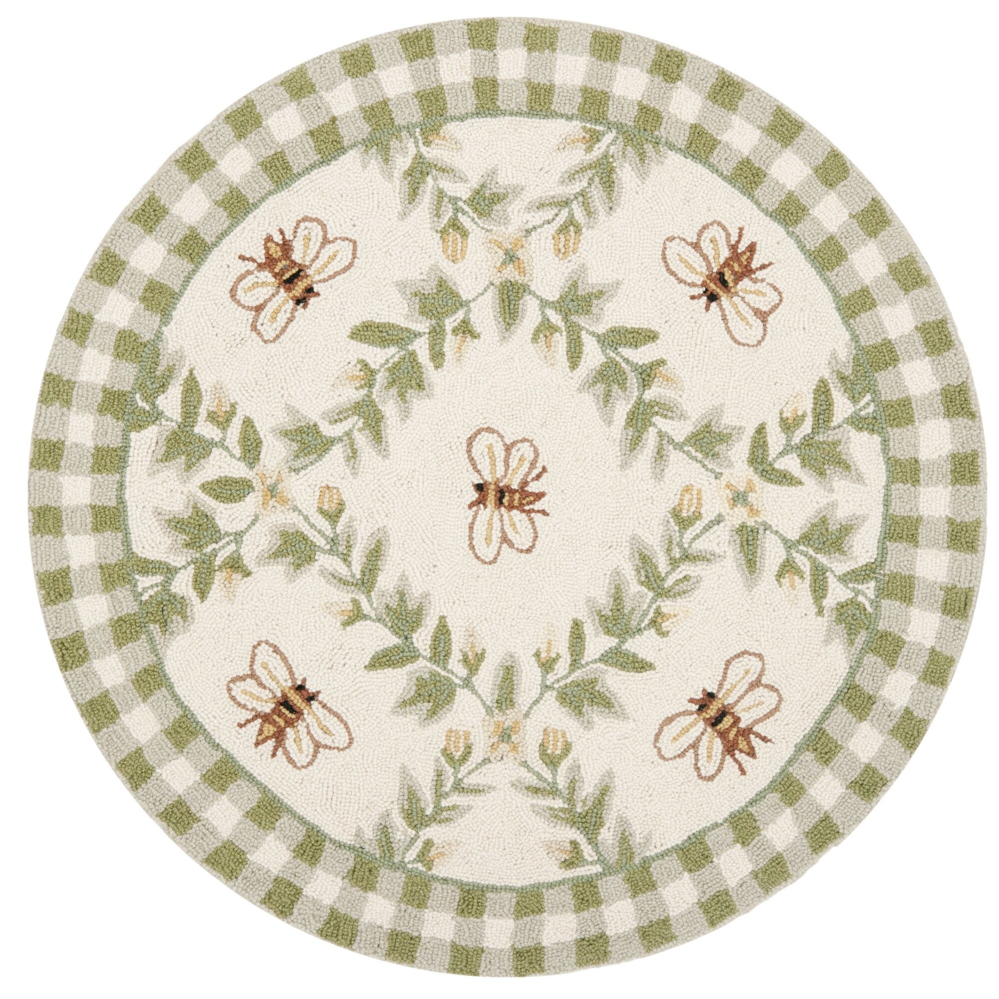 Littell Ivory/Green Bumblebee Area Rug Rug Size: Round 4'