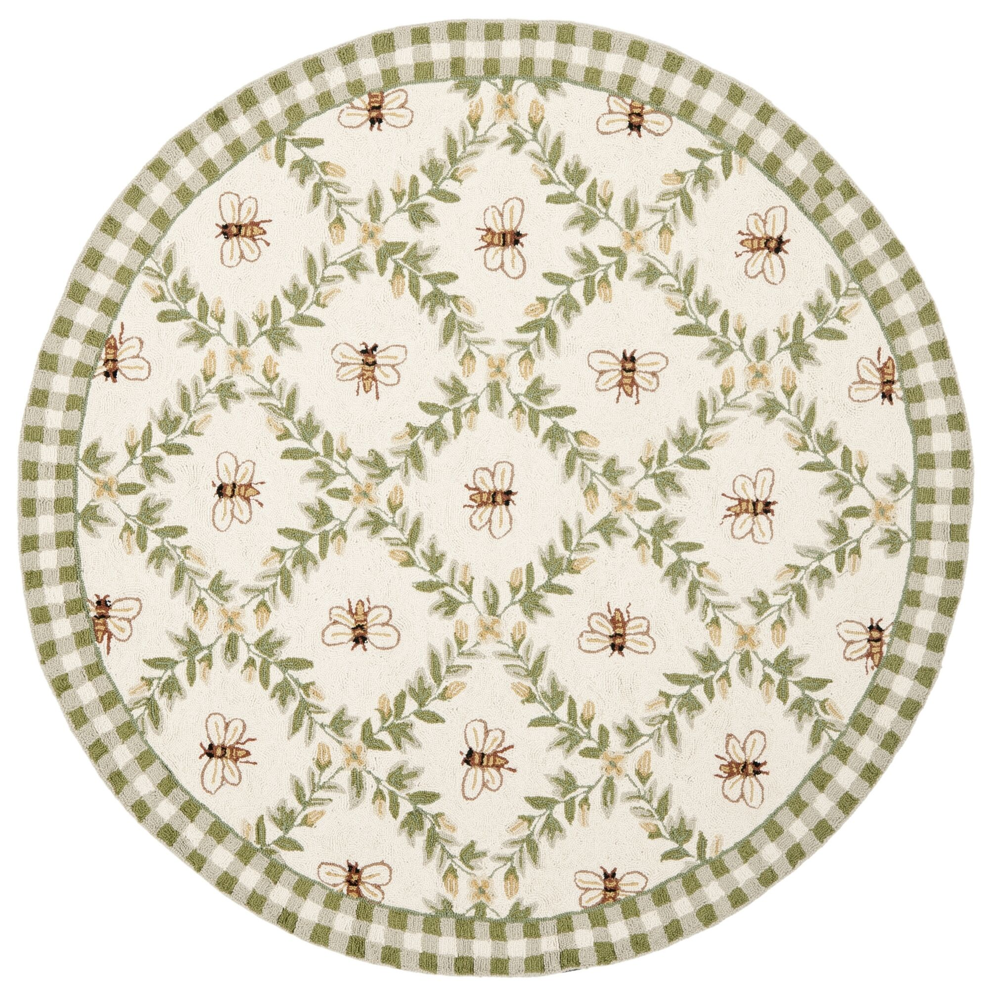 Littell Ivory/Green Bumblebee Area Rug Rug Size: Round 8'