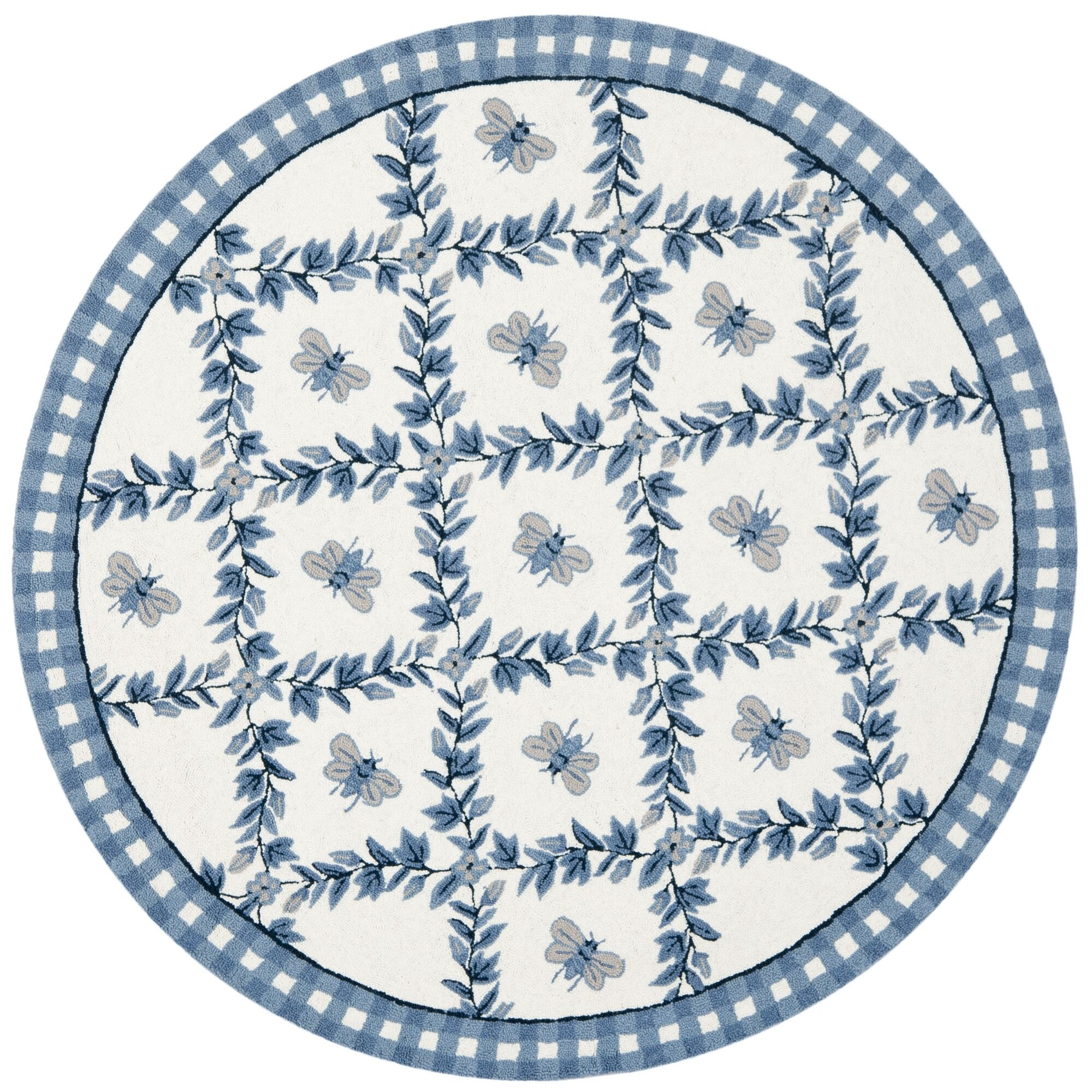 Kinchen Ivory/Blue Bumblebee Area Rug Rug Size: Round 4'