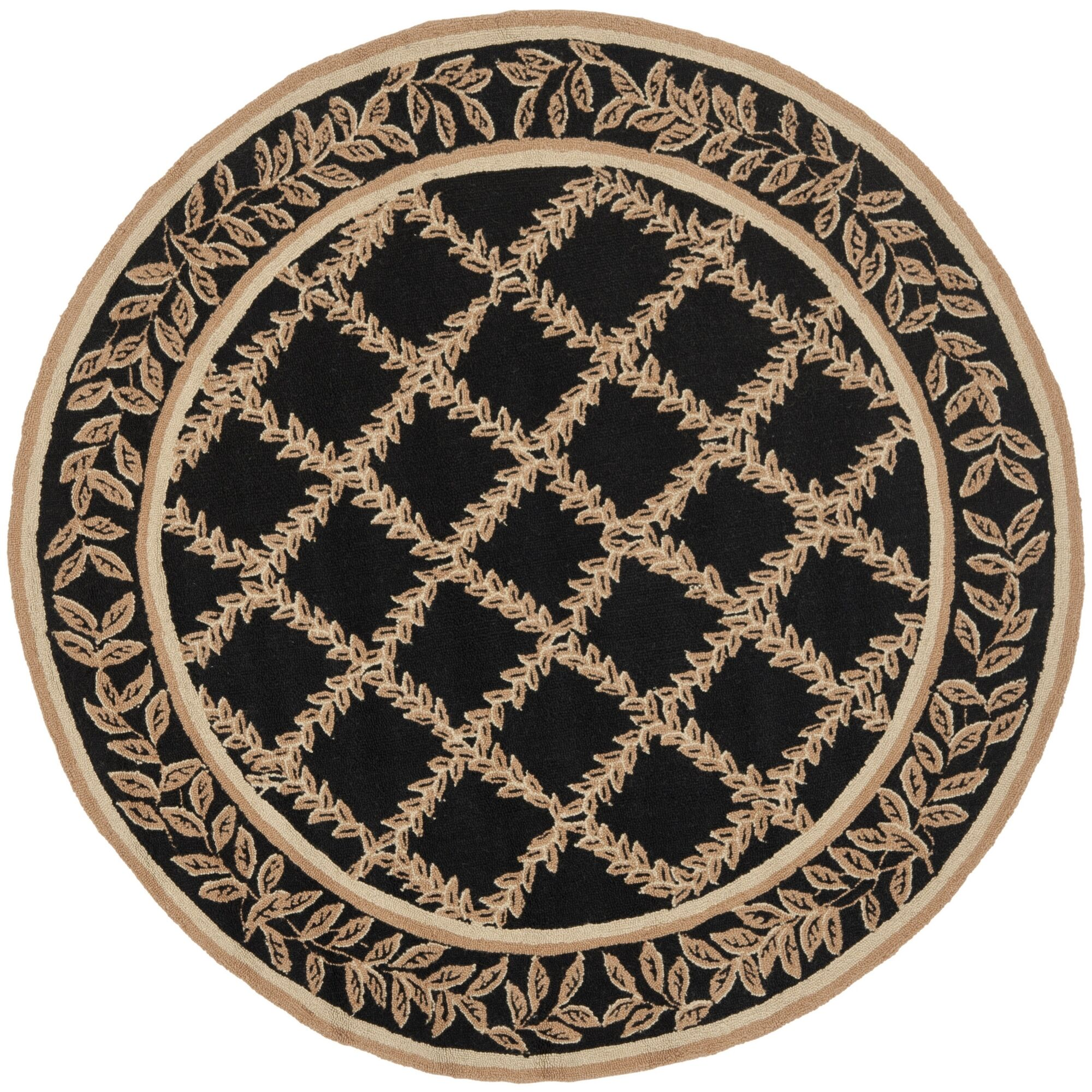 Kinchen Black/Beige Wilton Trellis Area Rug Rug Size: Round 8'