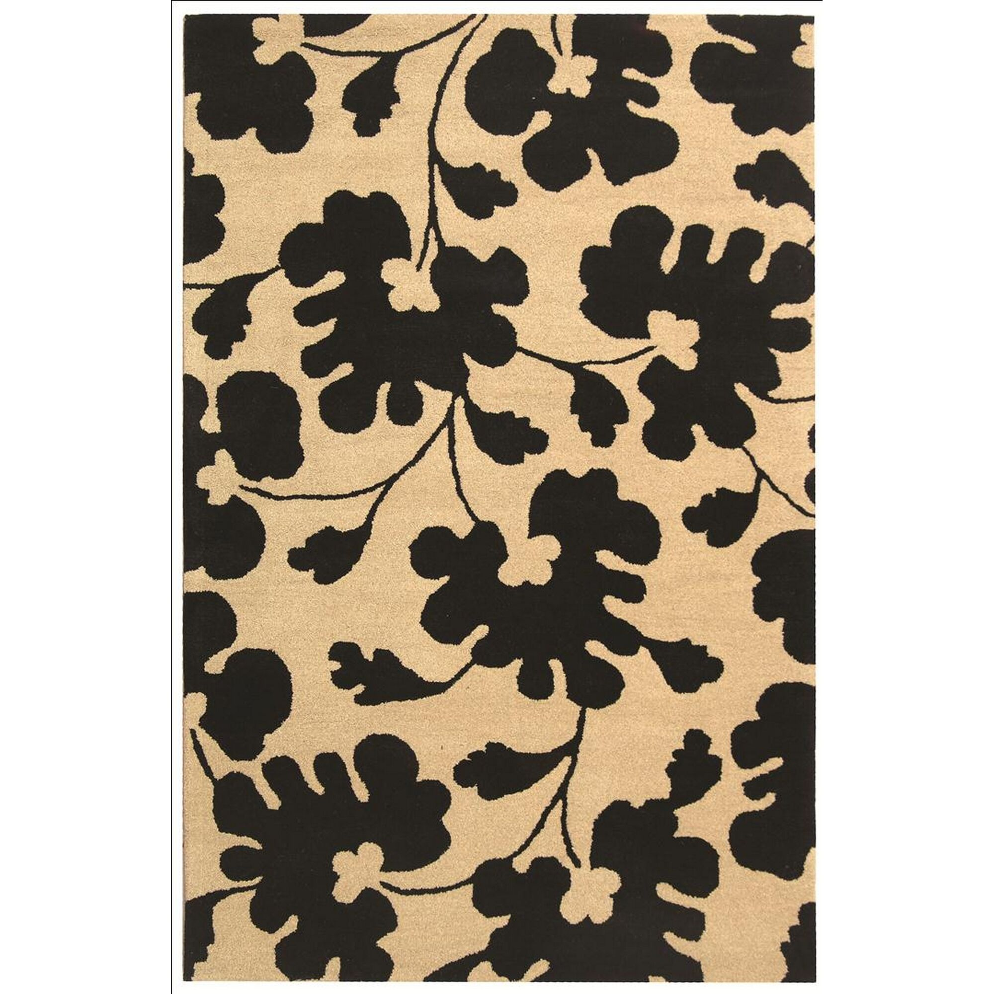Alvan Hand-Tufted Beige/Black Area Rug Rug Size: Rectangle 5' x 8'