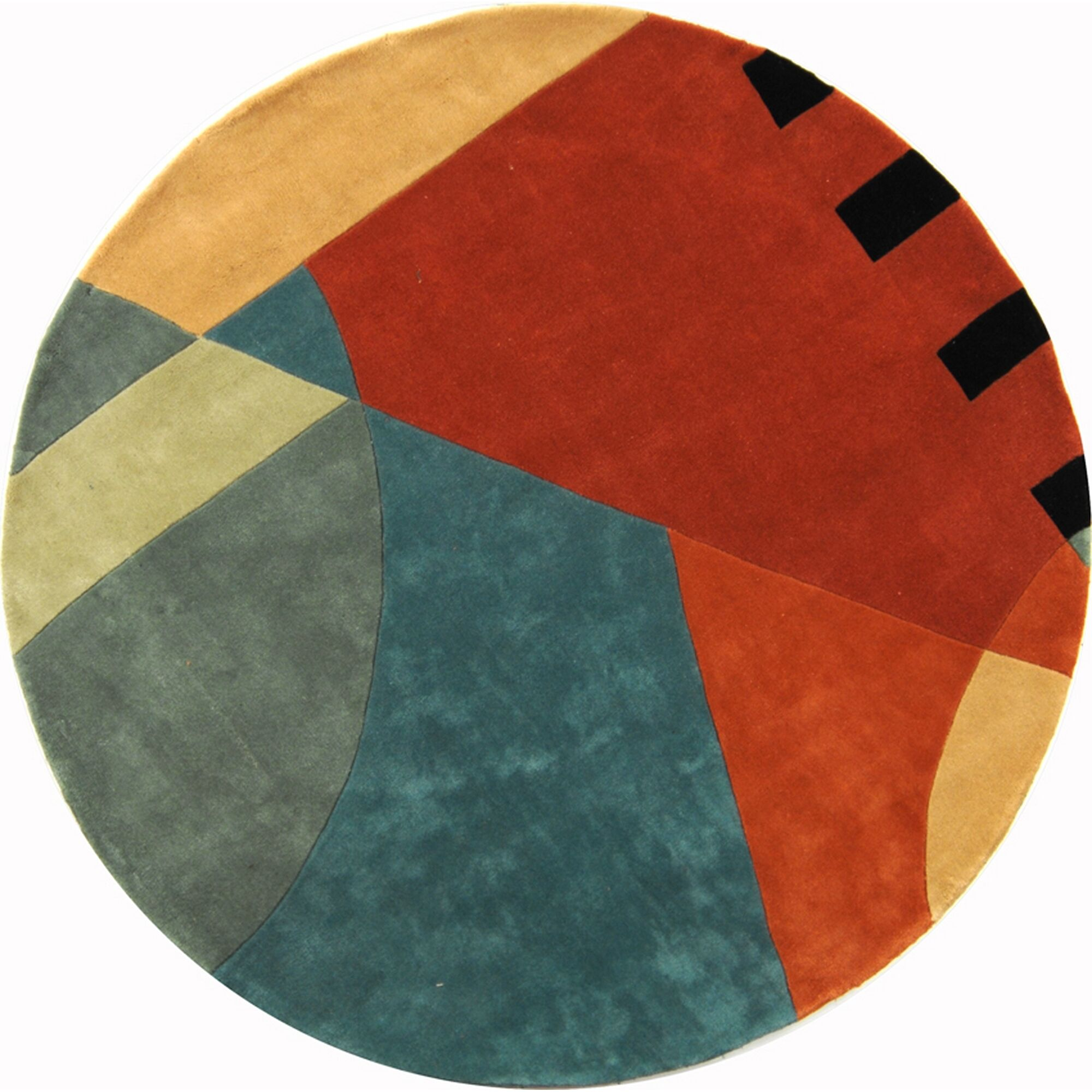Rodeo Drive Hand-Tufted Orange/Gray Area Rug Rug Size: Round 7'9
