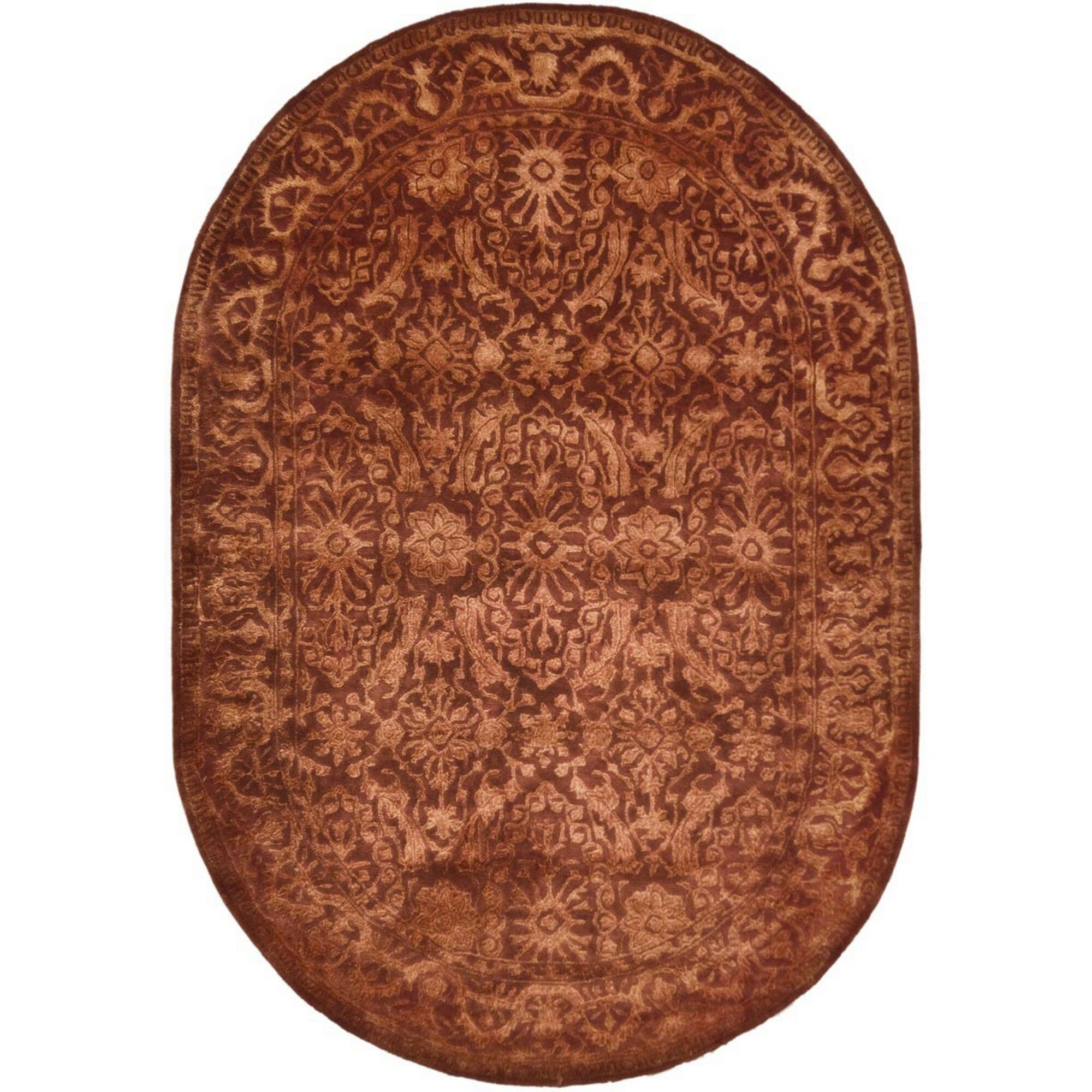 Silk Road Rust Area Rug Rug Size: Oval 4'6