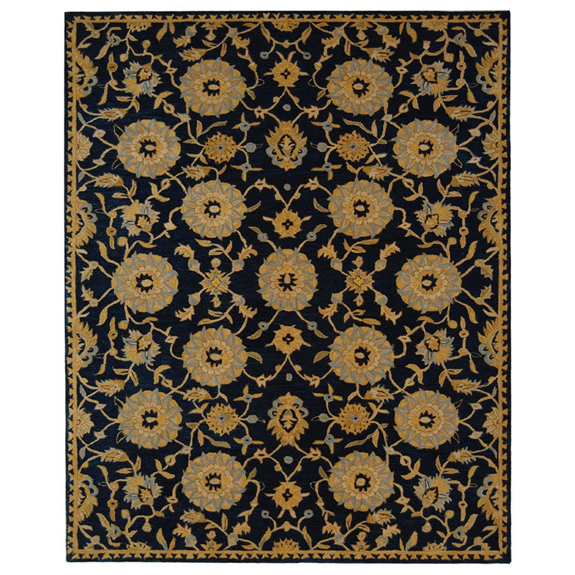 Anatolia Hand-Woven Wool Navy/Gold Area Rug Rug Size: Rectangle 8' x 10'