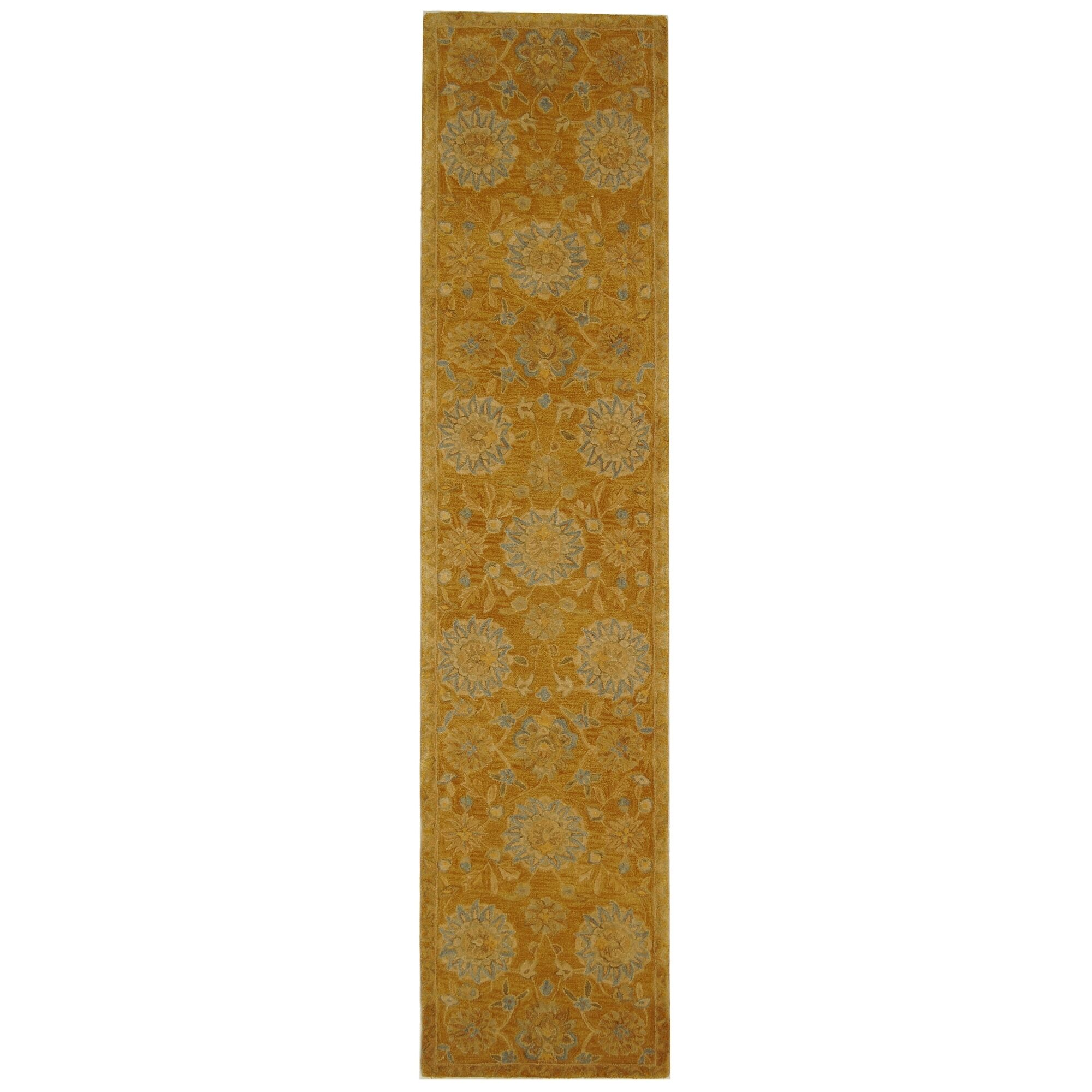 Anatolia Gold/Blue Area Rug Rug Size: Runner 2'3
