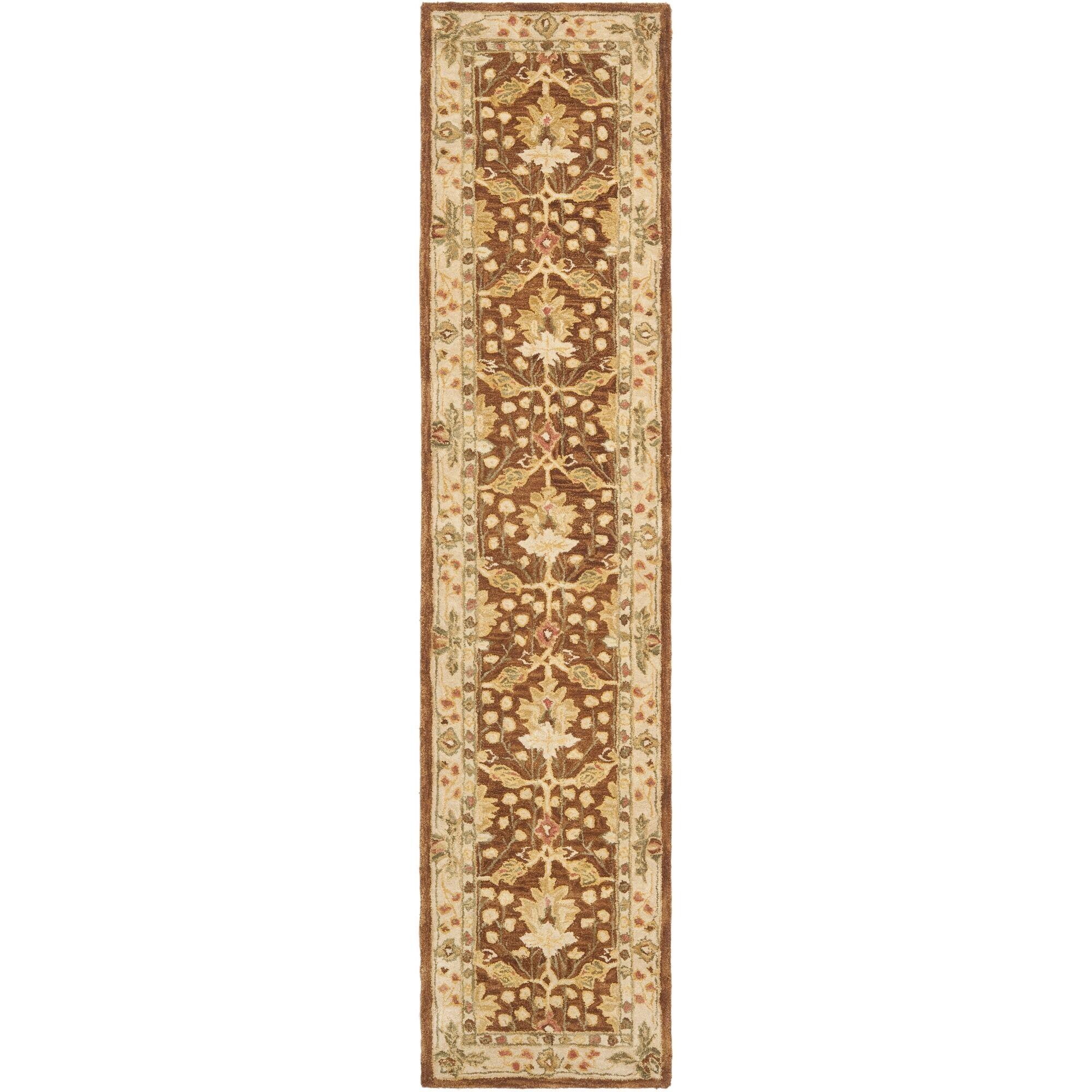 Anatolia Hand-Woven Wool Brown/Cream Area Rug Rug Size: Runner 2'3
