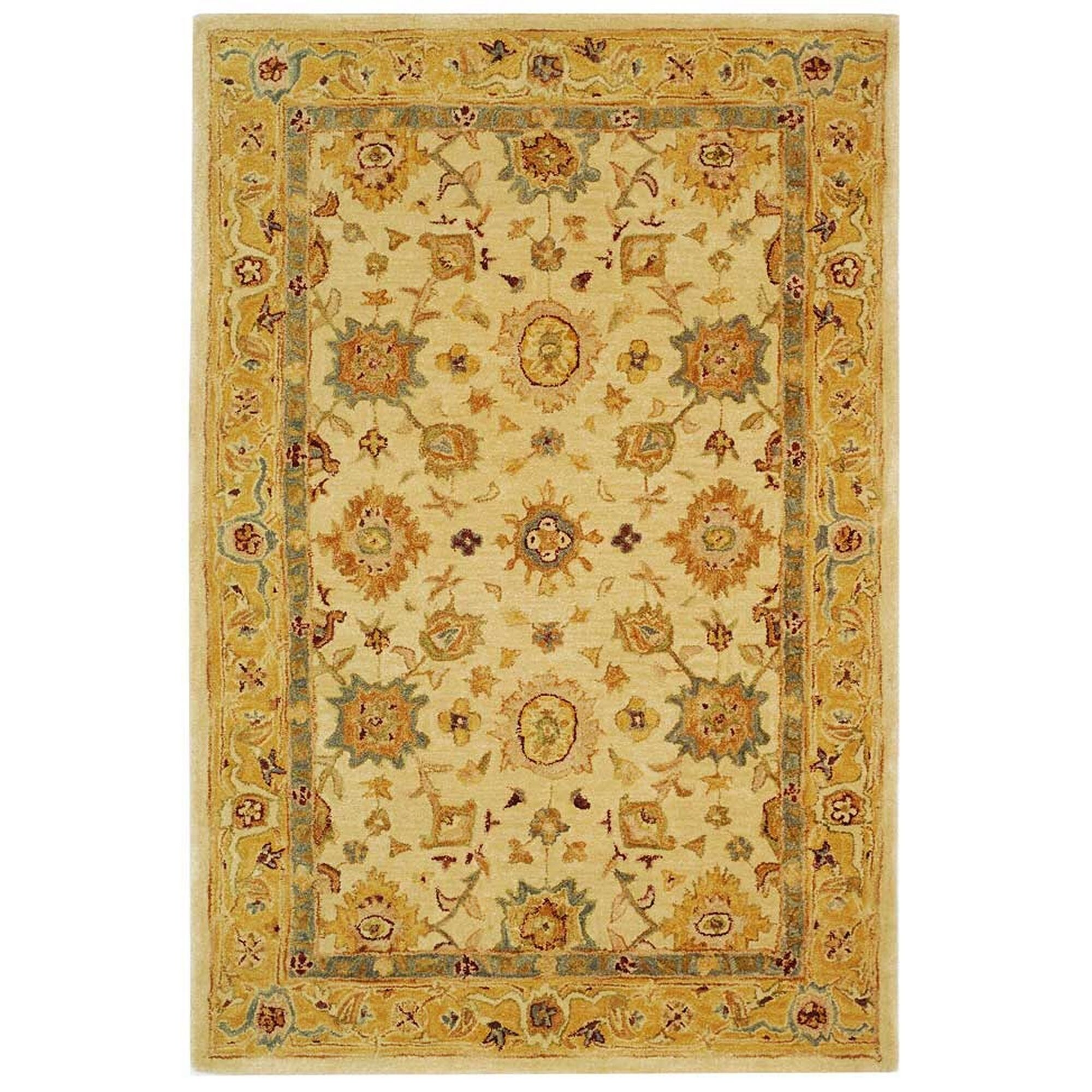 Pritchard Hand-Woven Wool Ivory/Gold Area Rug Rug Size: Rectangle 4' x 6'
