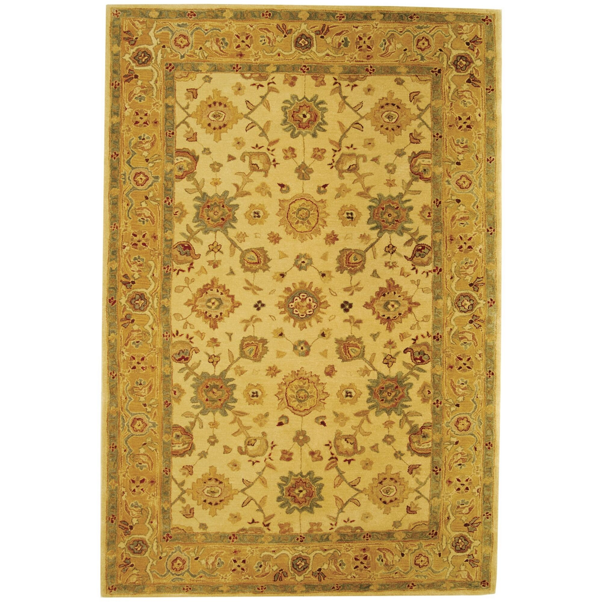 Pritchard Hand-Woven Wool Ivory/Gold Area Rug Rug Size: Rectangle 6' x 9'
