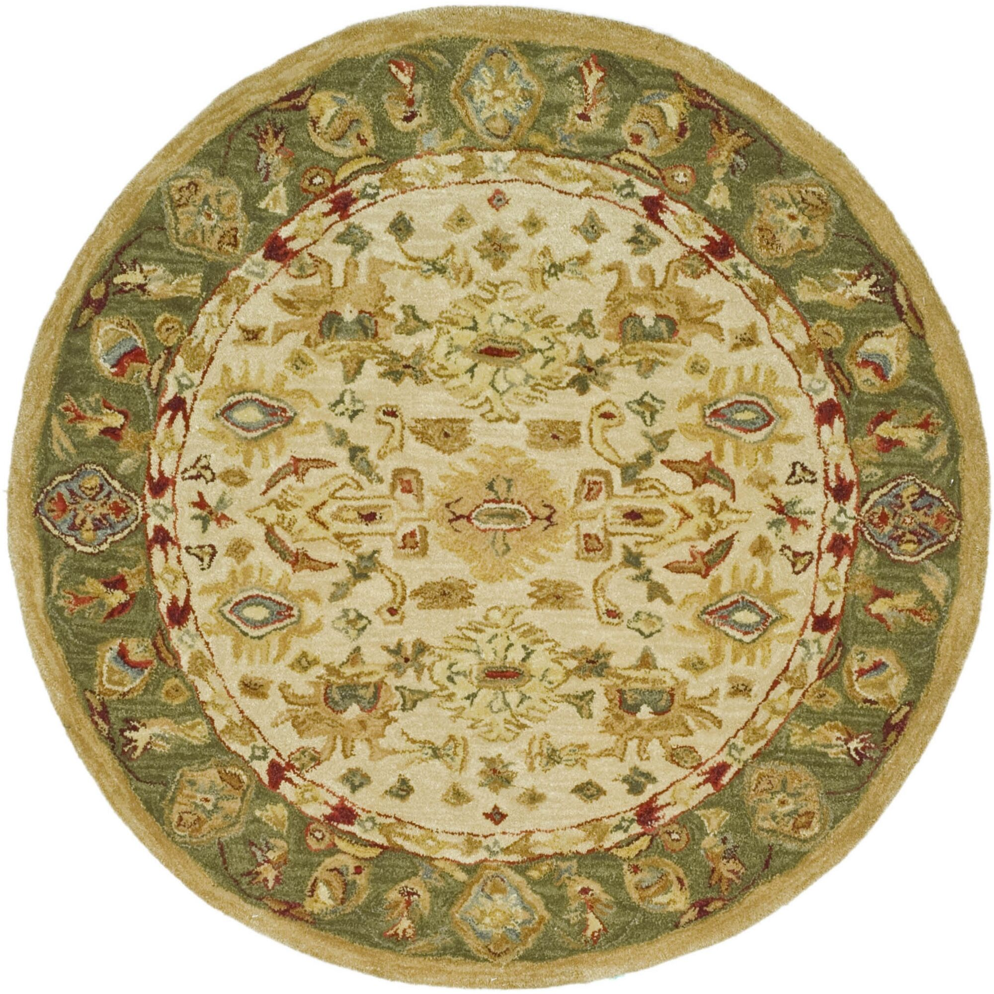 Anatolia Cream/Dark Sage Area Rug Rug Size: Round 8'