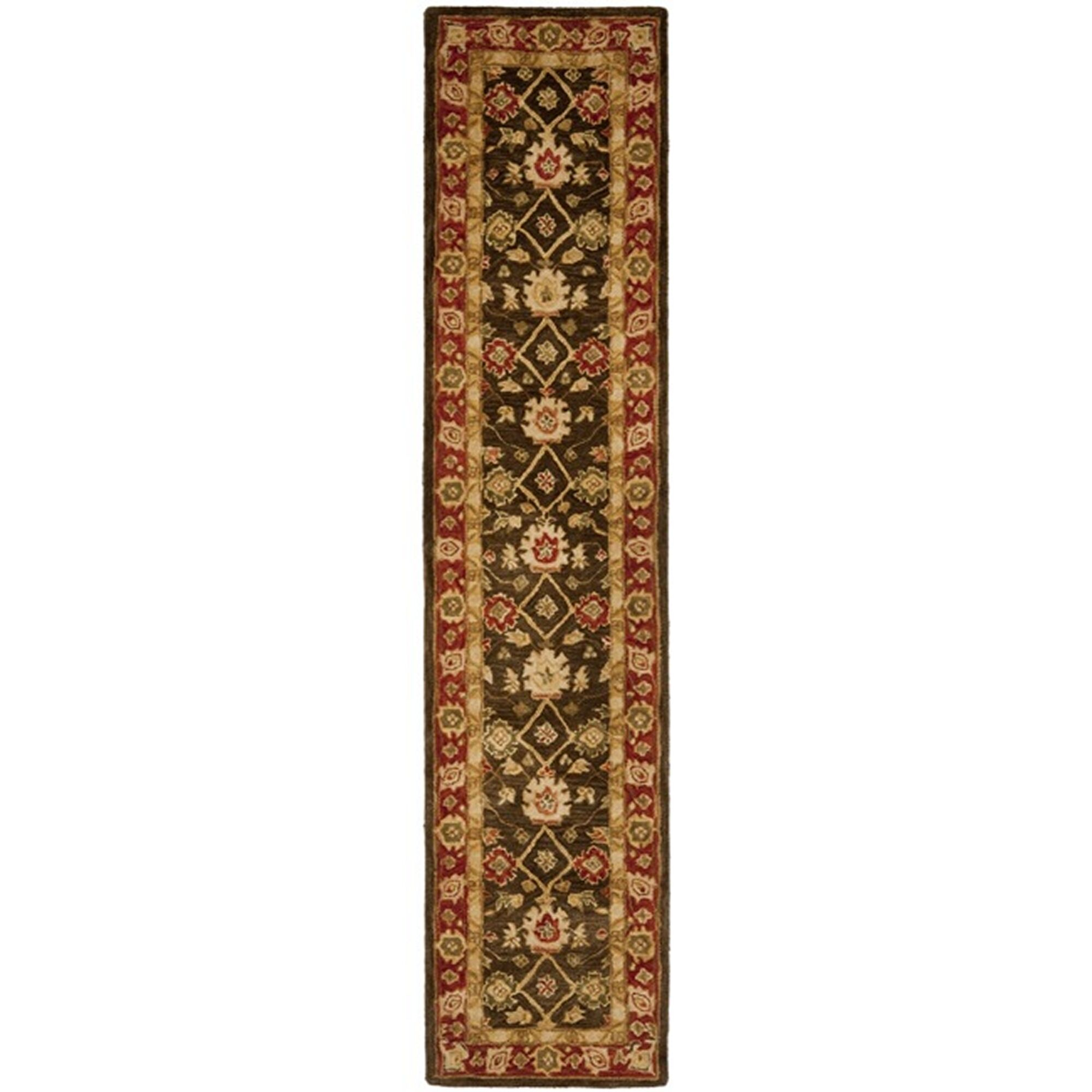 Thao Hand-Woven Wool Olive/Rust Area Rug Rug Size: Runner 2'3