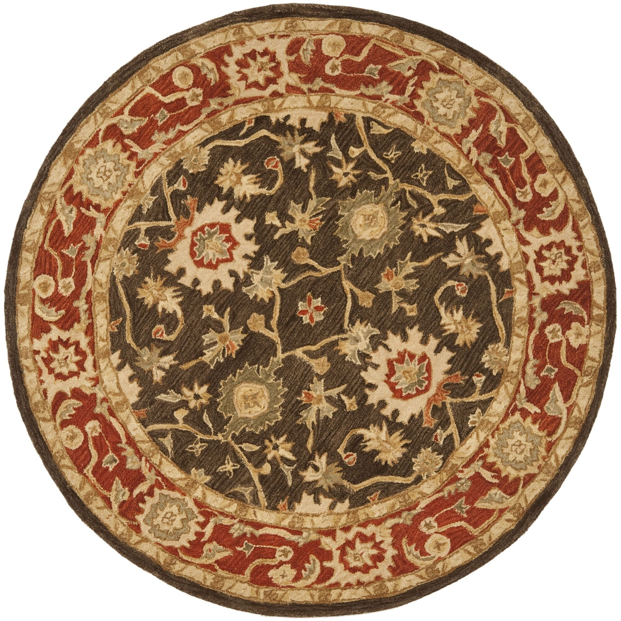 Thao Hand-Woven Wool Olive/Rust Area Rug Rug Size: Round 4'