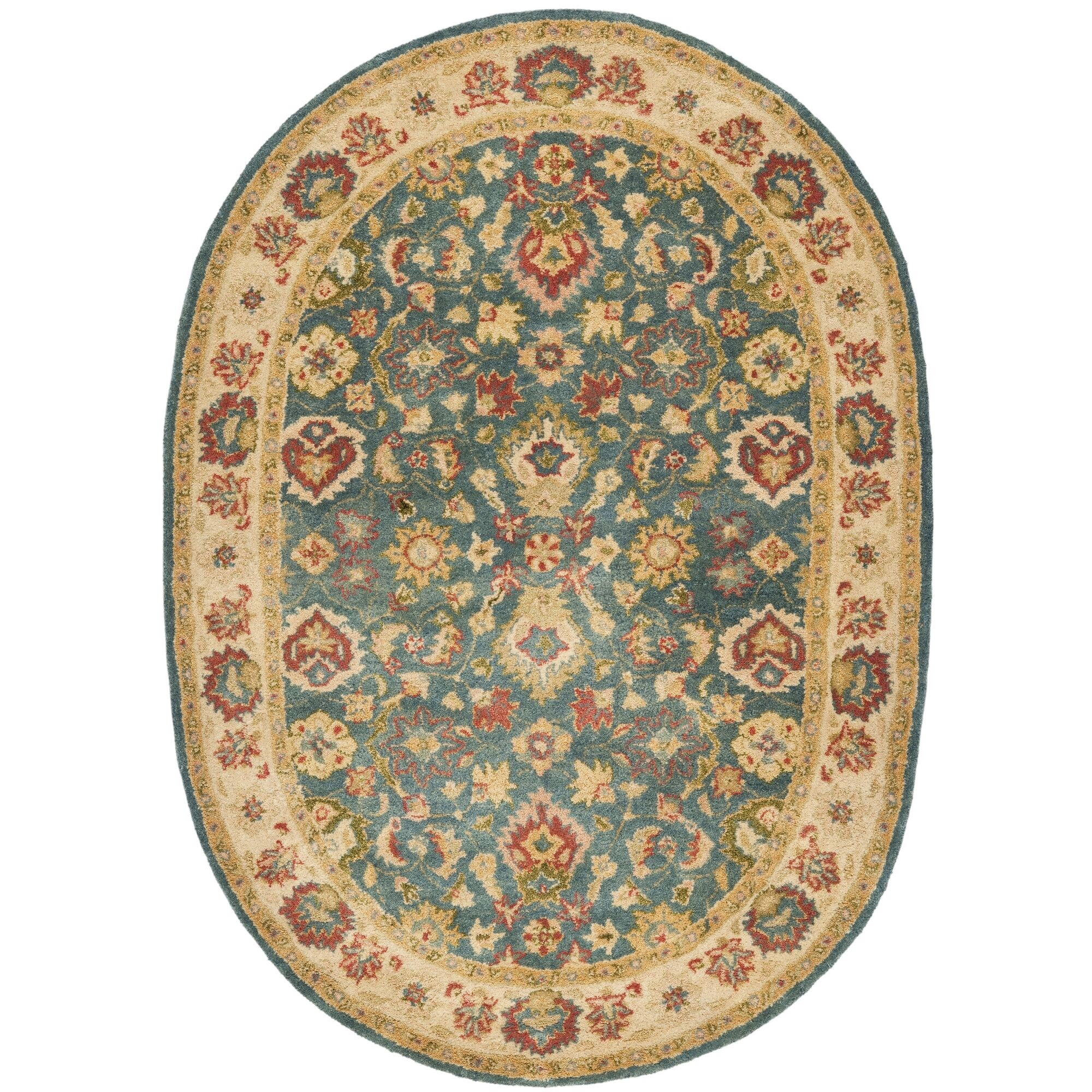 Antiquities Hand-Woven Wool Blue/Beige Area Rug Rug Size: Oval 7'6