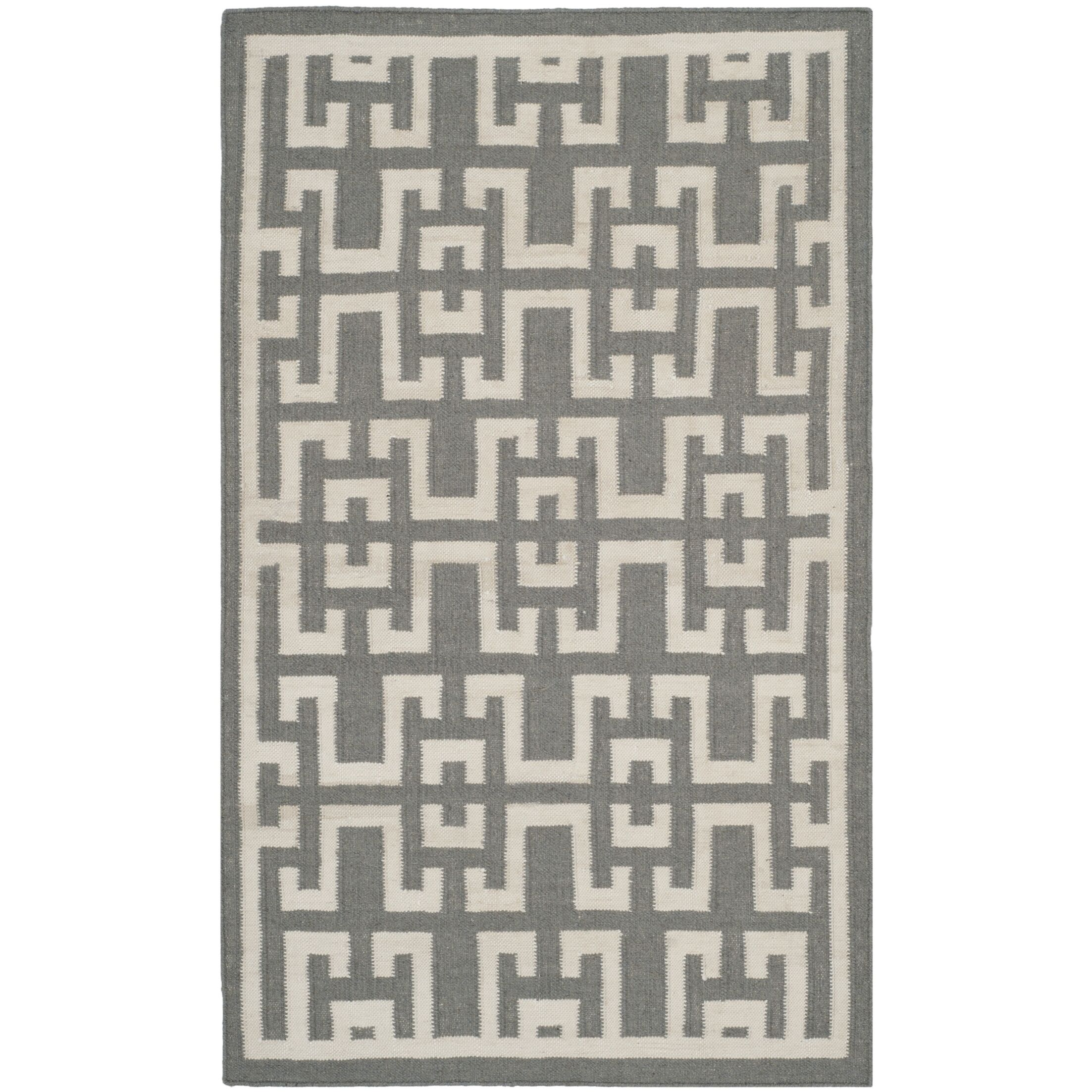 Dhurries Soft Grey /  Ivory Moroccan Area Rug Rug Size: Rectangle 9' x 12'