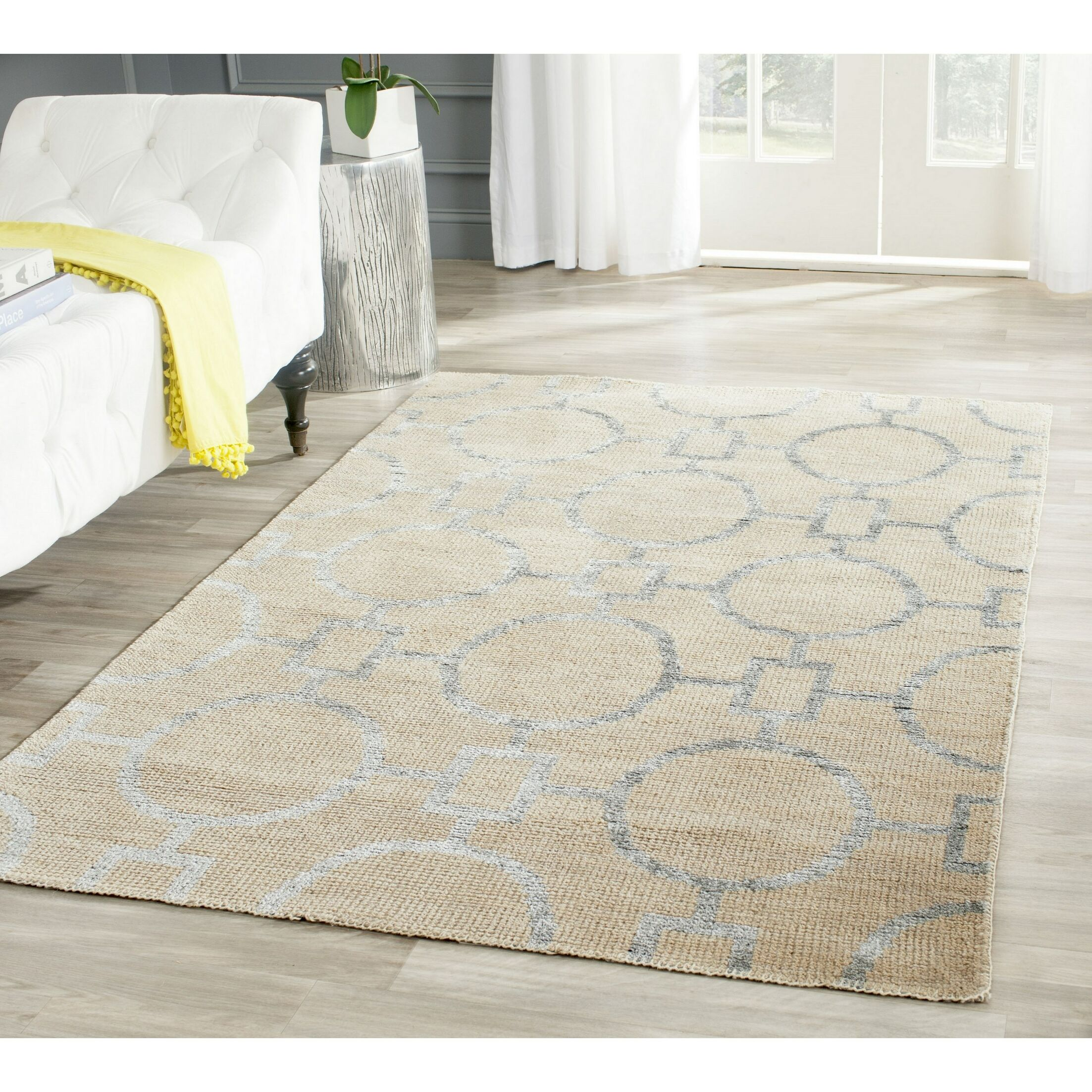 Stone Wash Hand-Woven Cotton Beige Area Rug Rug Size: Rectangle 8' x 10'