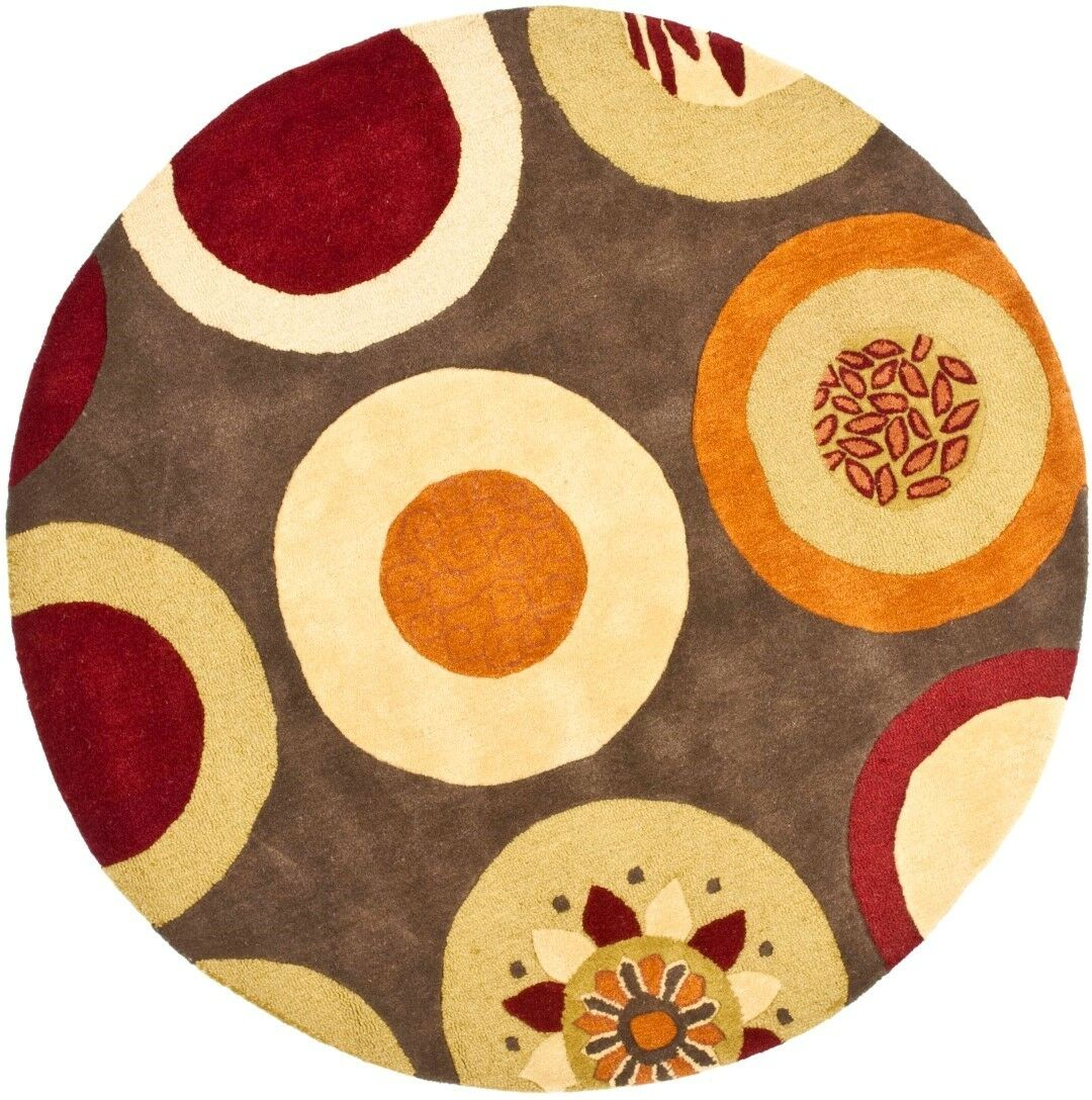 Chiara Brown / Light Dark Multi Contemporary Rug Rug Size: Round 6'