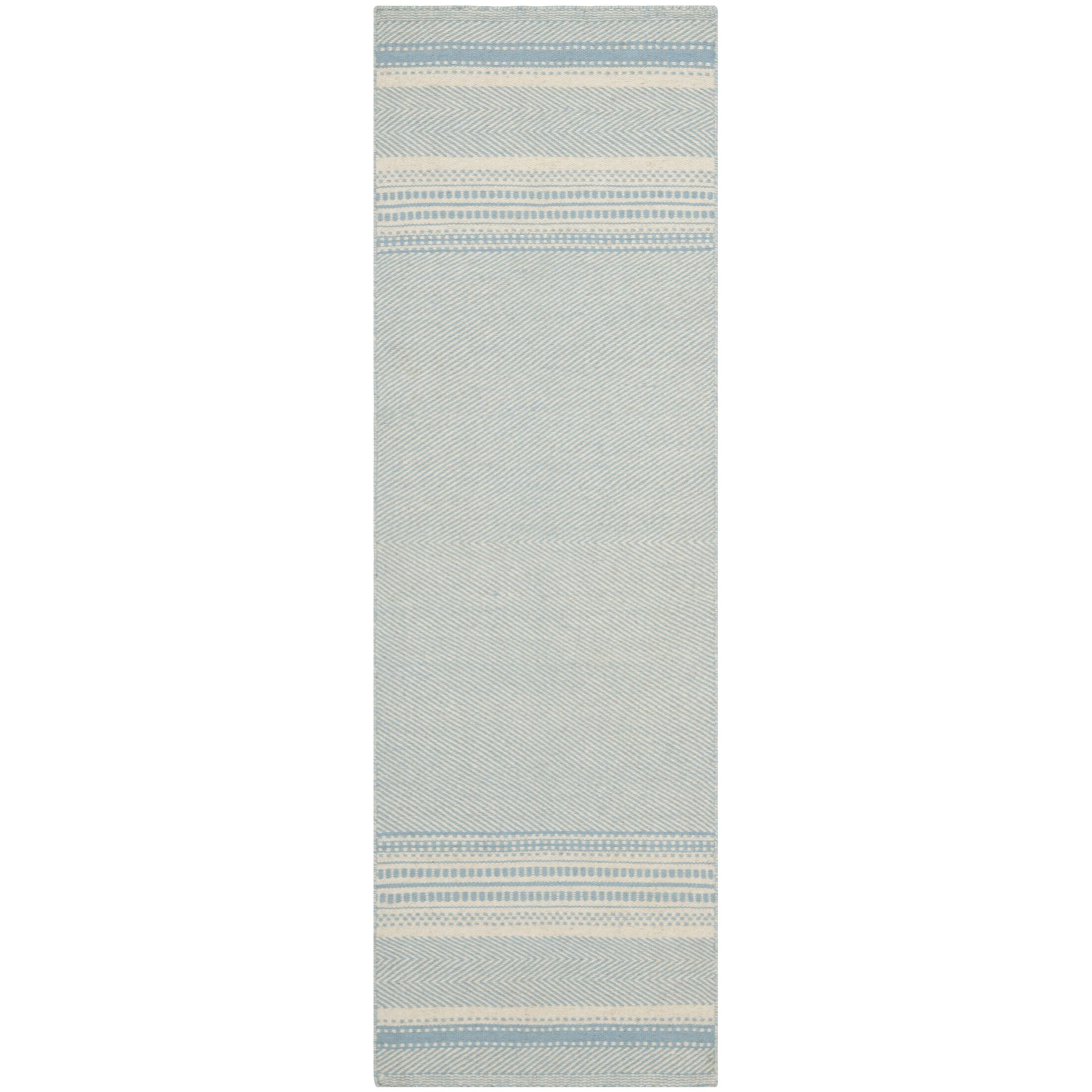 Kilim Hand-Woven Wool Light Blue/Ivory Area Rug Rug Size: Runner 2'3