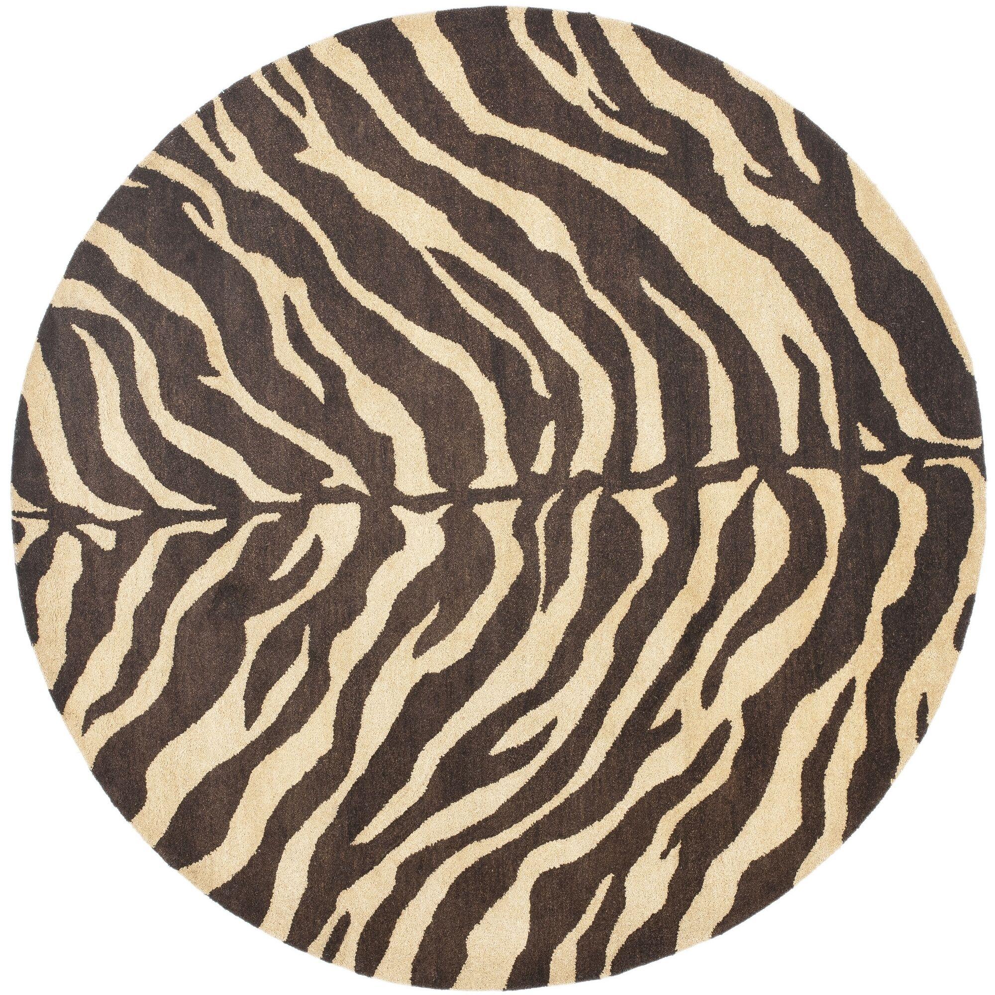 Bergama Beige/Brown Area Rug Rug Size: Round 8'