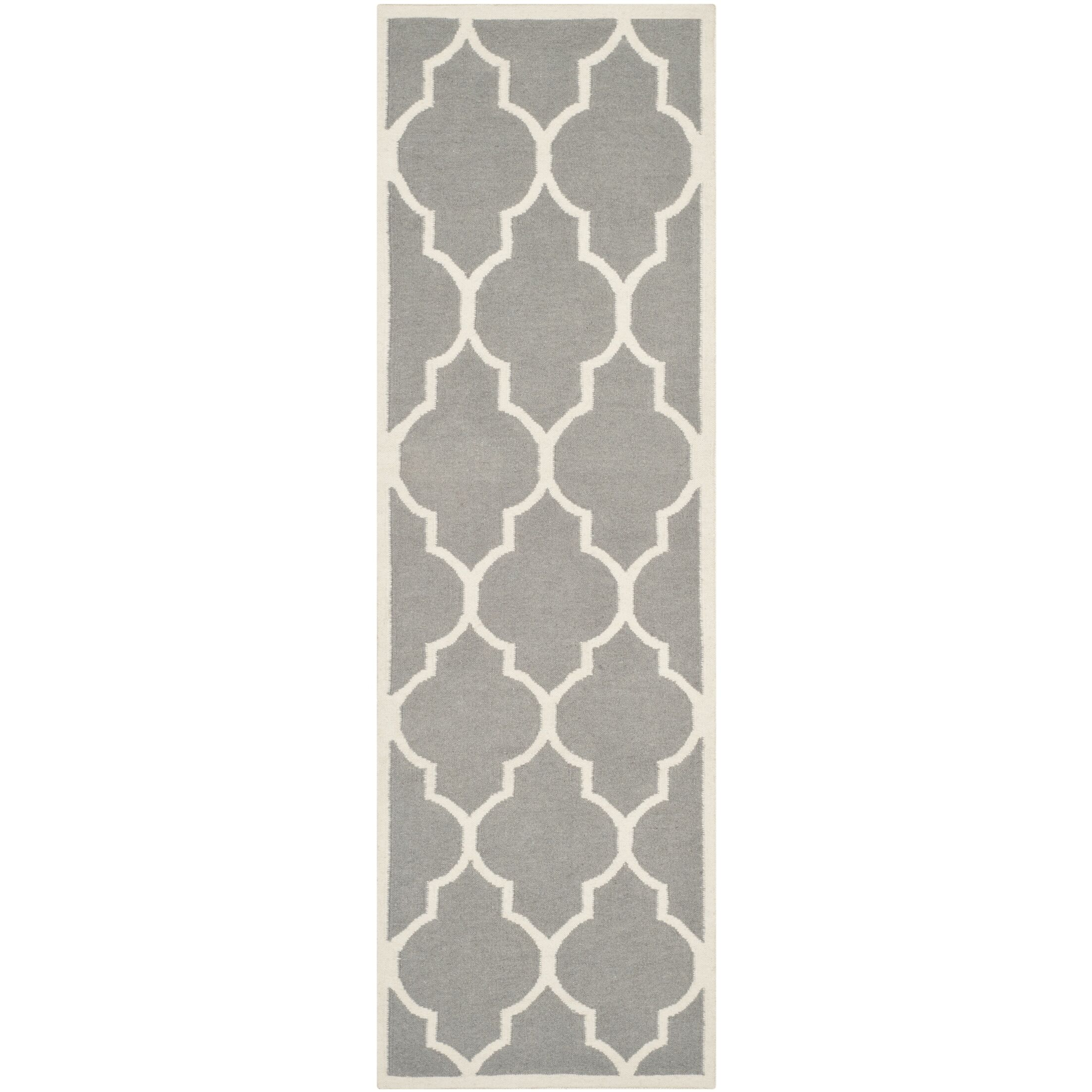 Dhurries Hand-Woven Wool Gray/Ivory Area Rug Rug Size: Runner 2'6