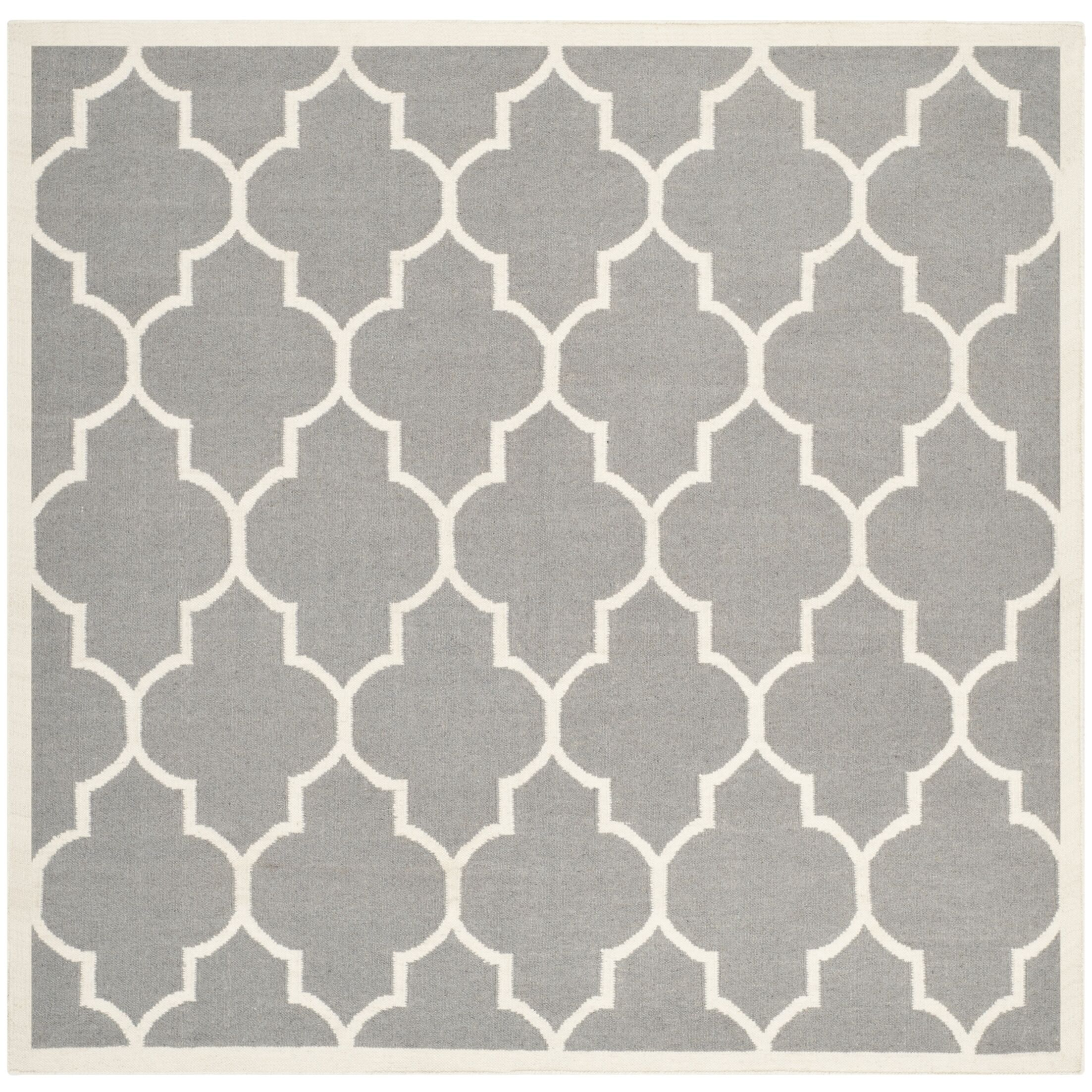Dhurries Hand-Woven Wool Gray/Ivory Area Rug Rug Size: Square 8'
