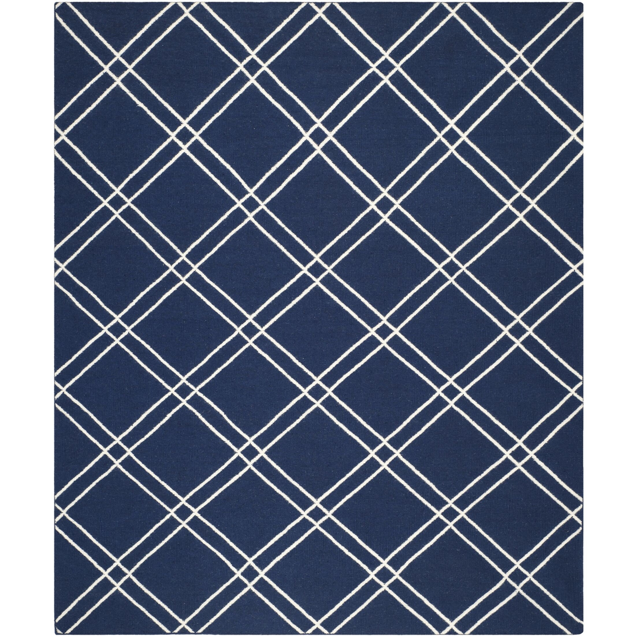 Dhurries Navy/Ivory Area Rug Rug Size: Rectangle 5' x 8'