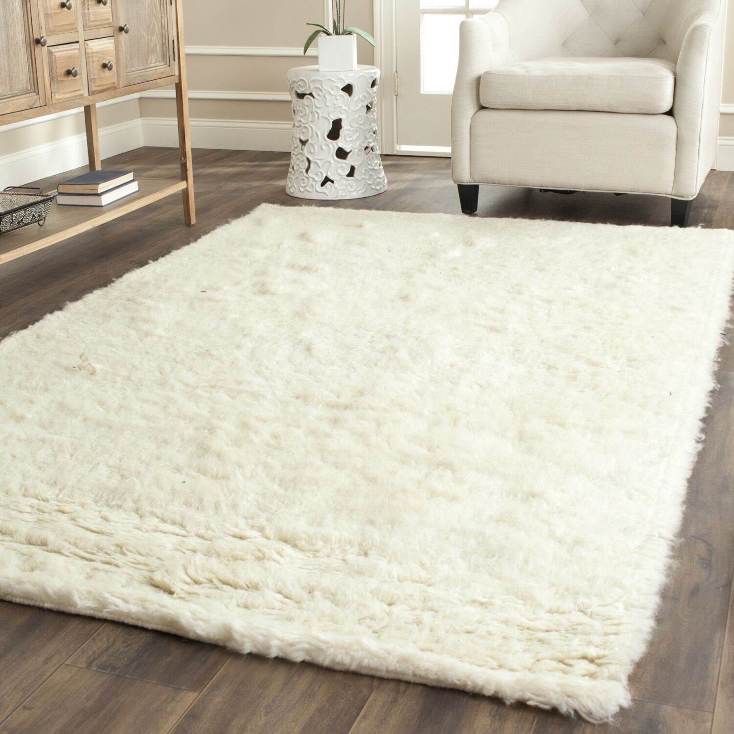 Flokati Hand-Tufted Wool Ivory Area Rug Rug Size: Rectangle 9' x 12'