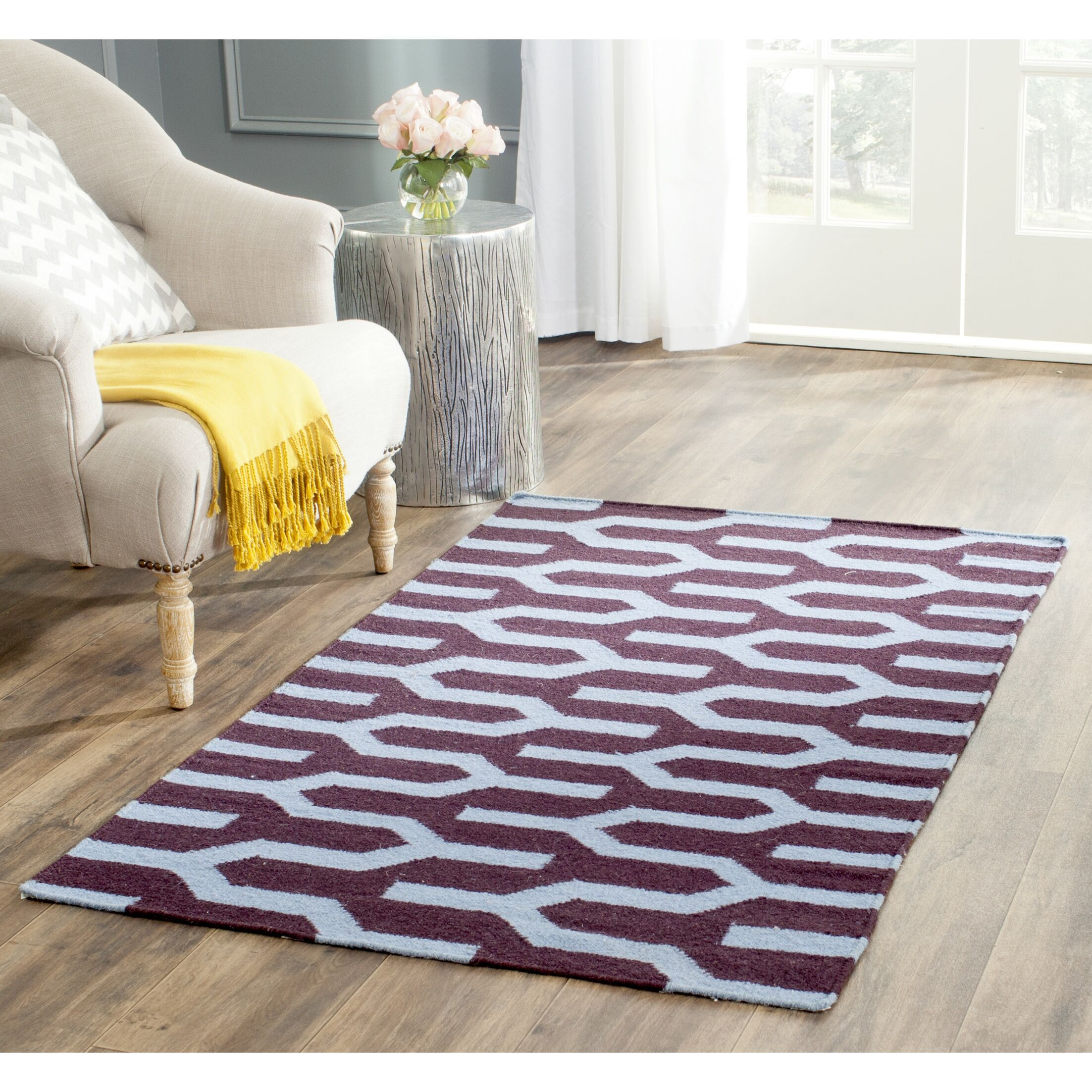 Dhurries Hand-Woven Wool Purple/Blue Area Rug Rug Size: Rectangle 6' x 9'