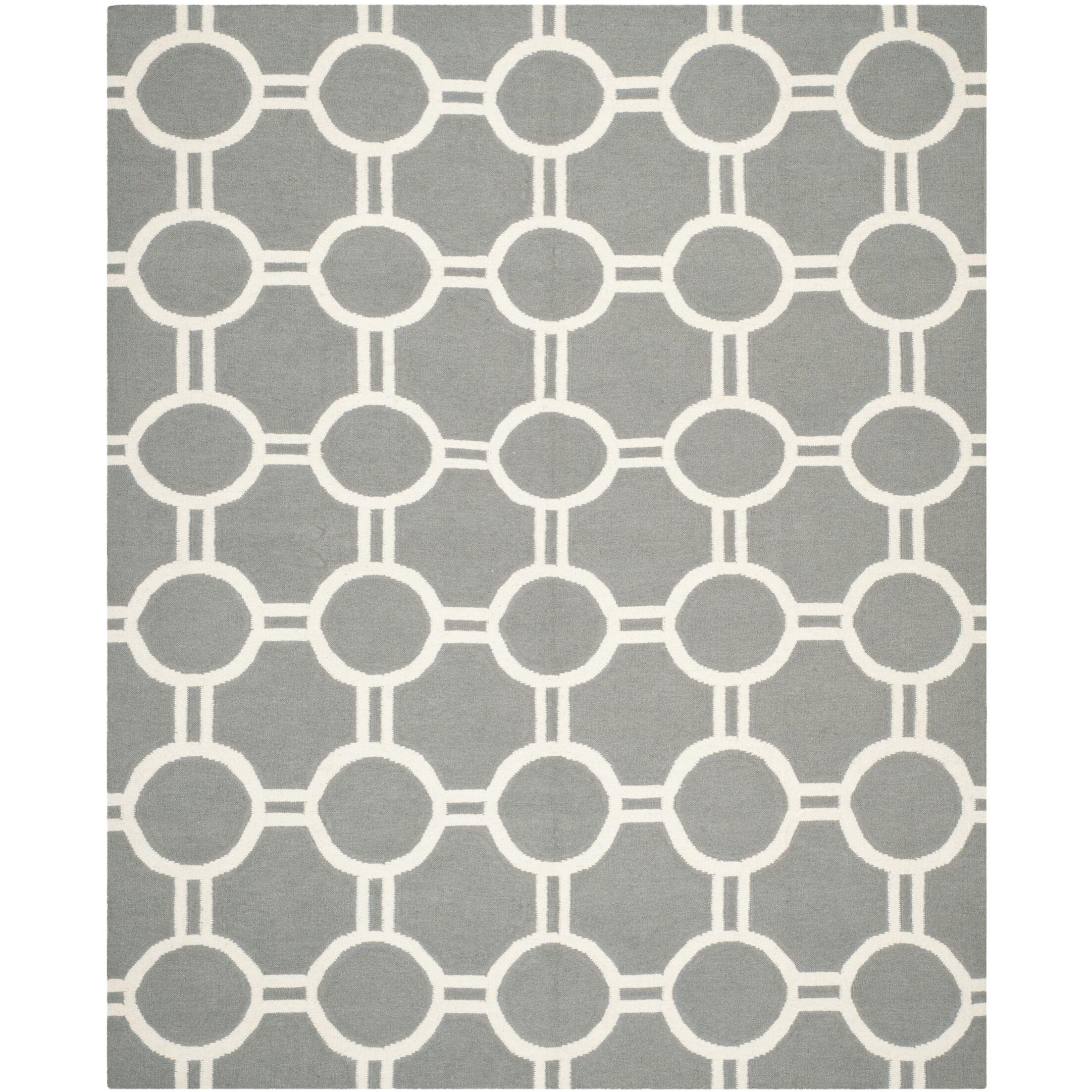 Dhurries Grey/Ivory Area Rug Rug Size: Rectangle 4' x 6'