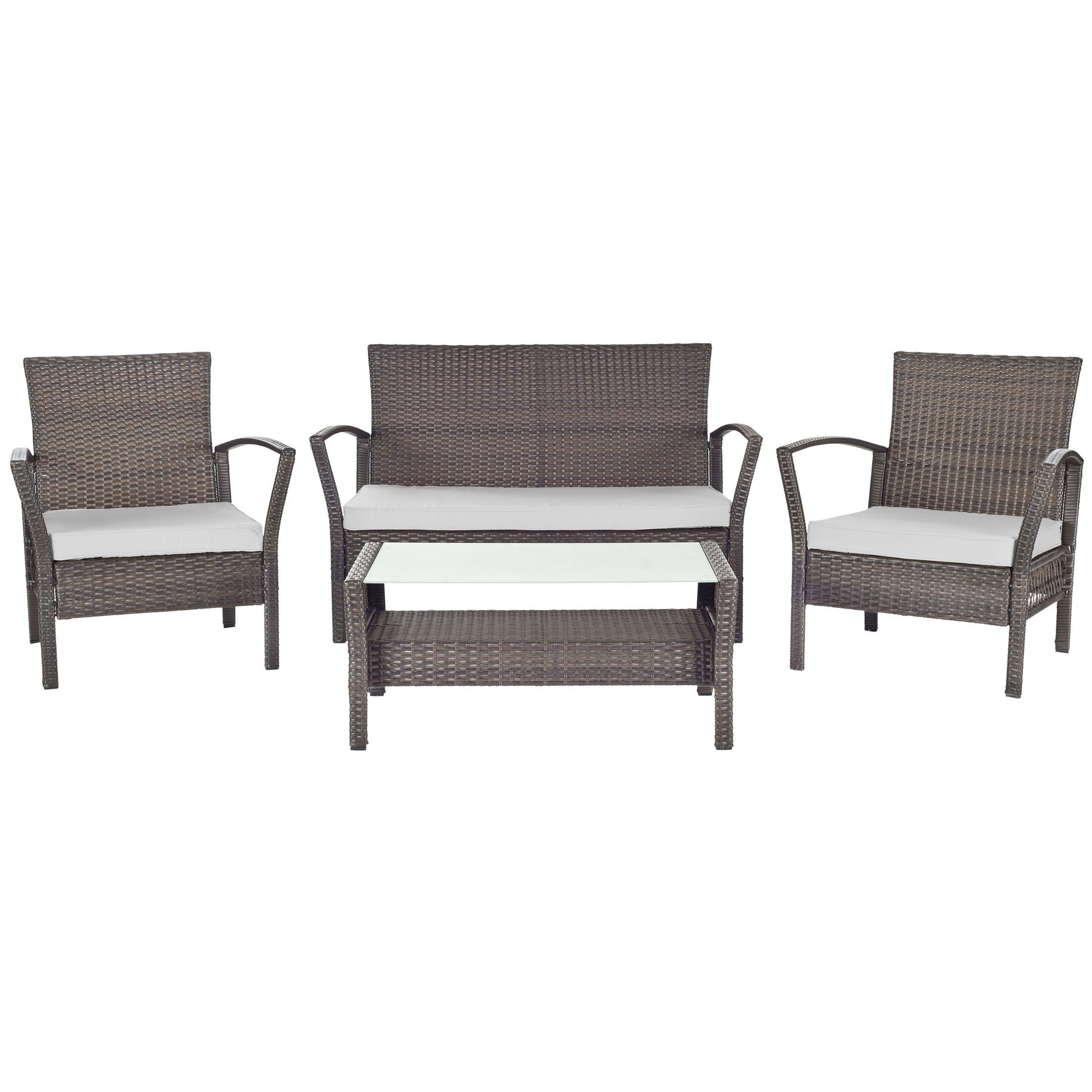 Avaron 4 Piece Sofa Set with Cushions Fabric: Grey