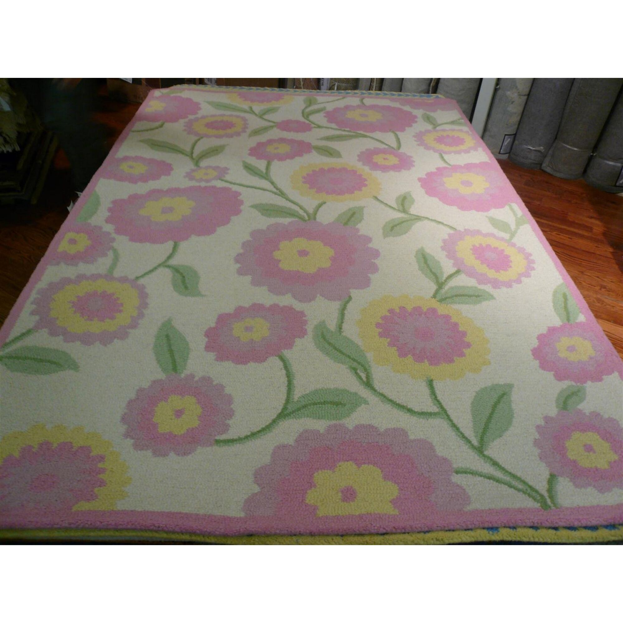 Claro Ivory & Pink Area Rug Rug Size: Rectangle 3' x 5'