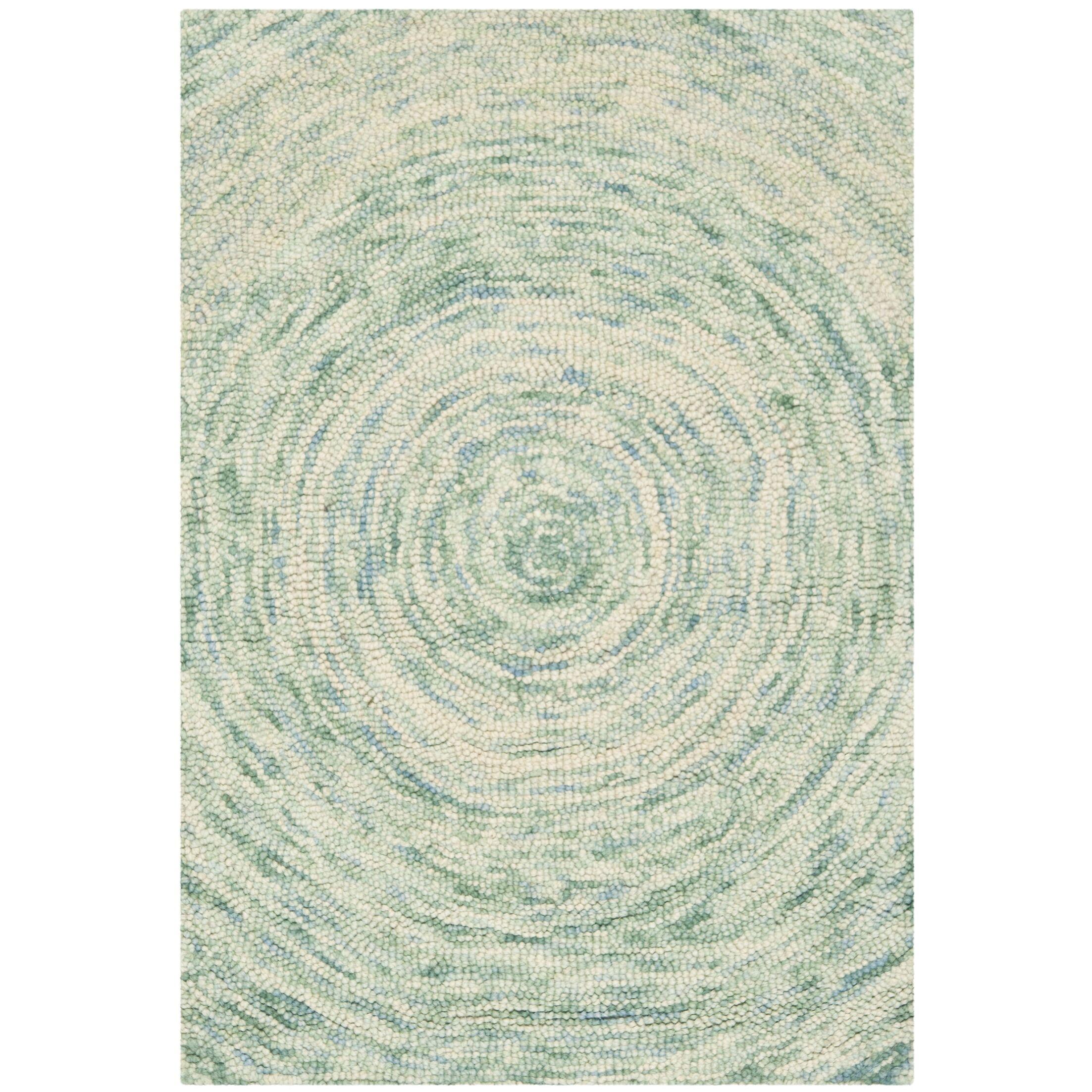 Ikat Ivory/Blue Area Rug Rug Size: Rectangle 3' x 5'