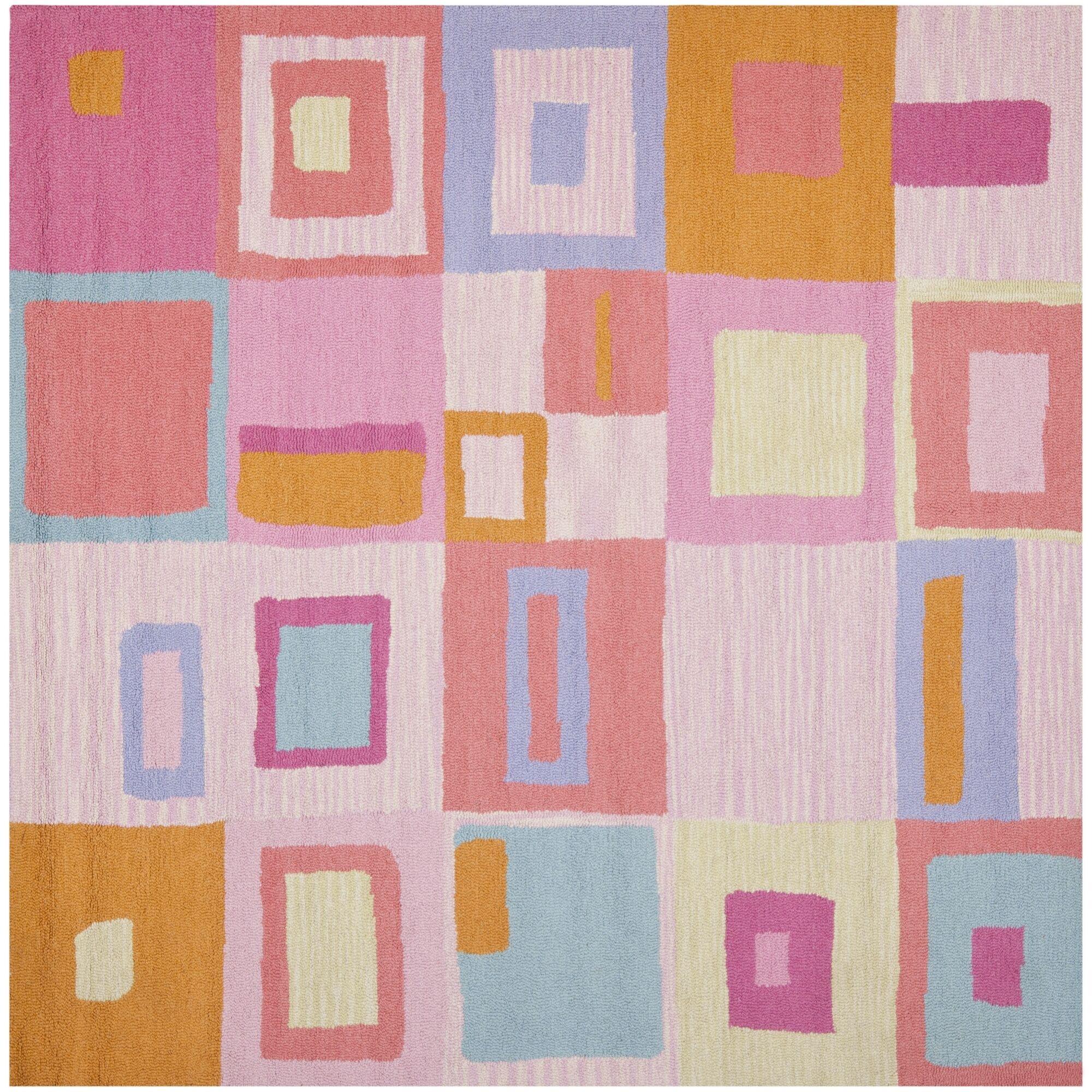 Claro Geometric Pink Area Rug Rug Size: Square 7'
