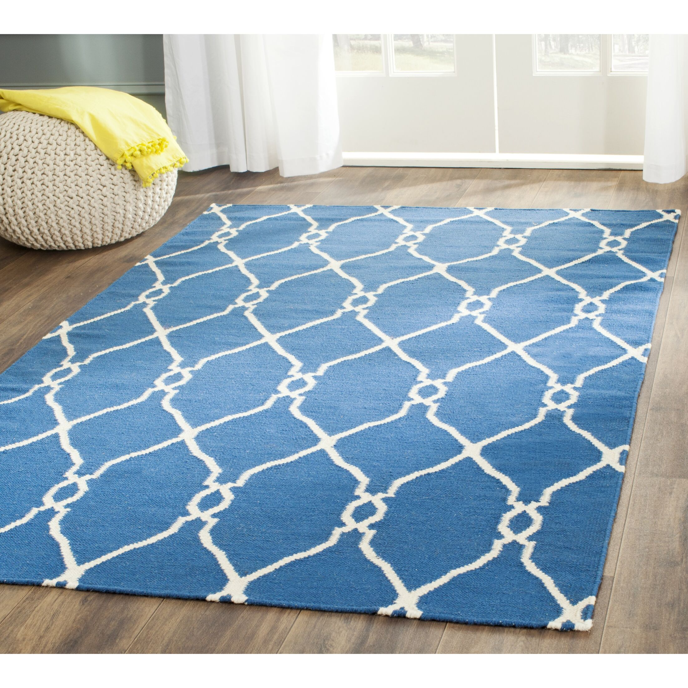 Dhurries Hand-Woven Wool Dark Blue Area Rug Rug Size: Rectangle 6' x 9'