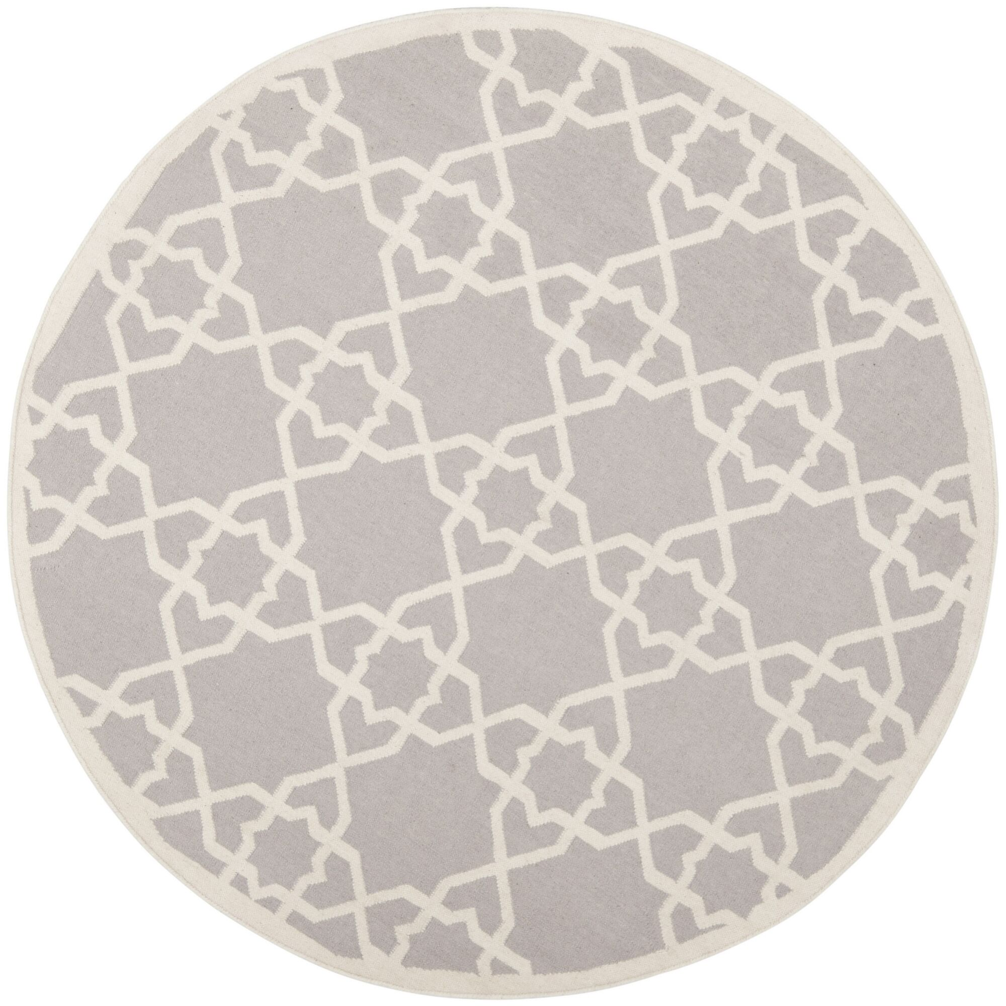 Dhurries Hand-Woven Wool Purple/Ivory Area Rug Rug Size: Round 8'