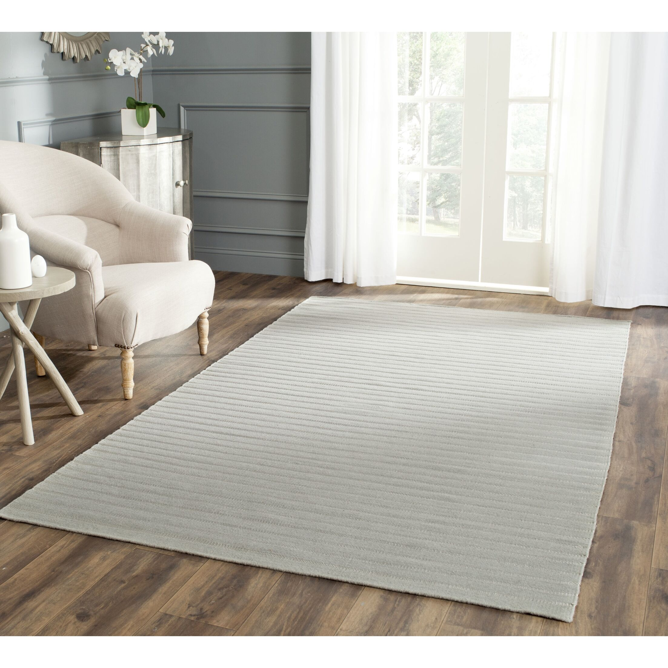 Dhurries Hand-Woven Wool Gray Area Rug Rug Size: Rectangle 5' x 8'