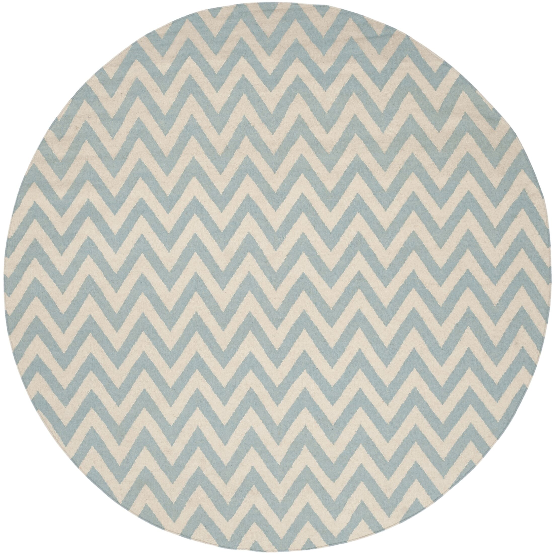 Dhurries Hand-Woven Wool Blue/Ivory Area Rug Rug Size: Round 8'