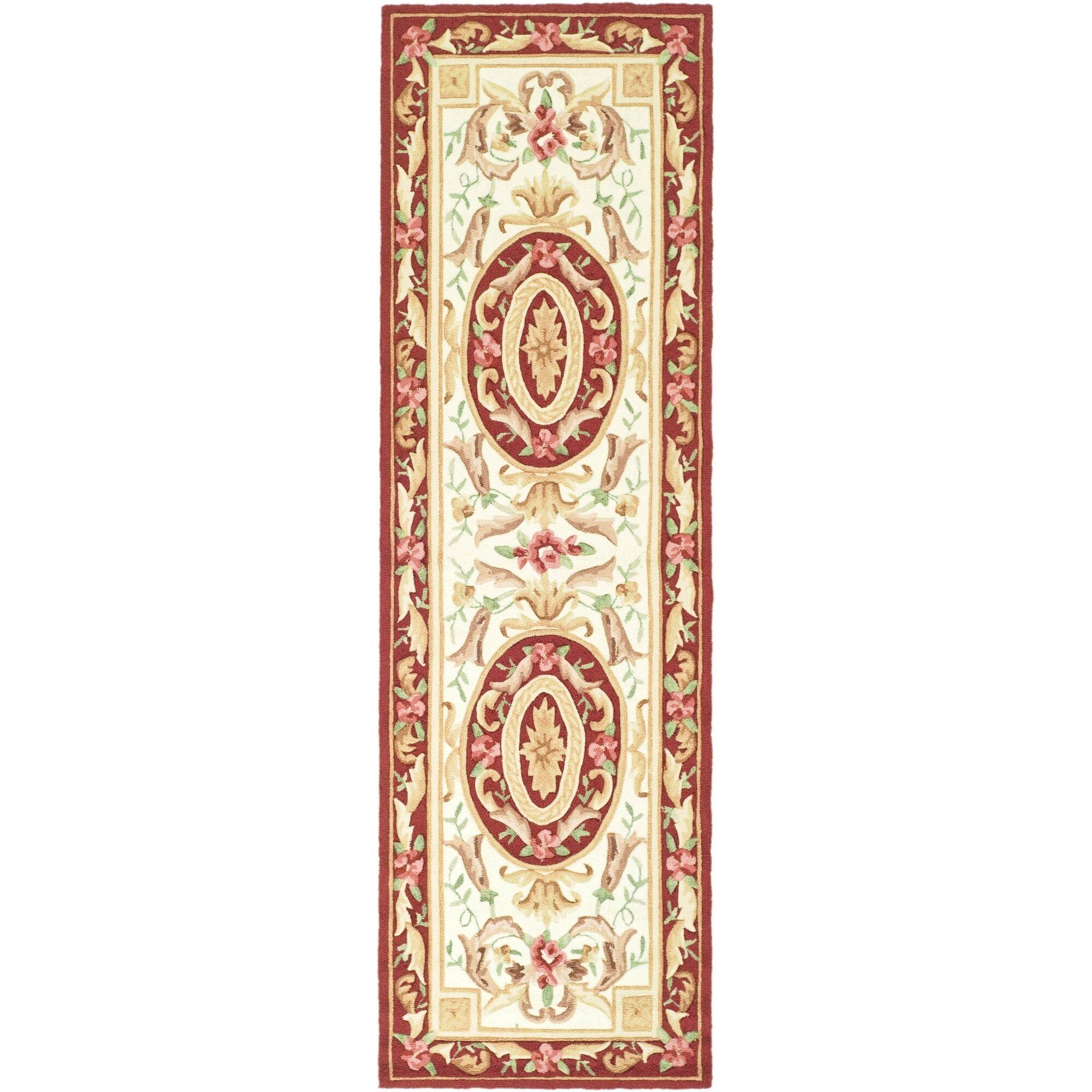 DuraArea Rug Ivory/Burgundy Area Rug Rug Size: Runner 2'6