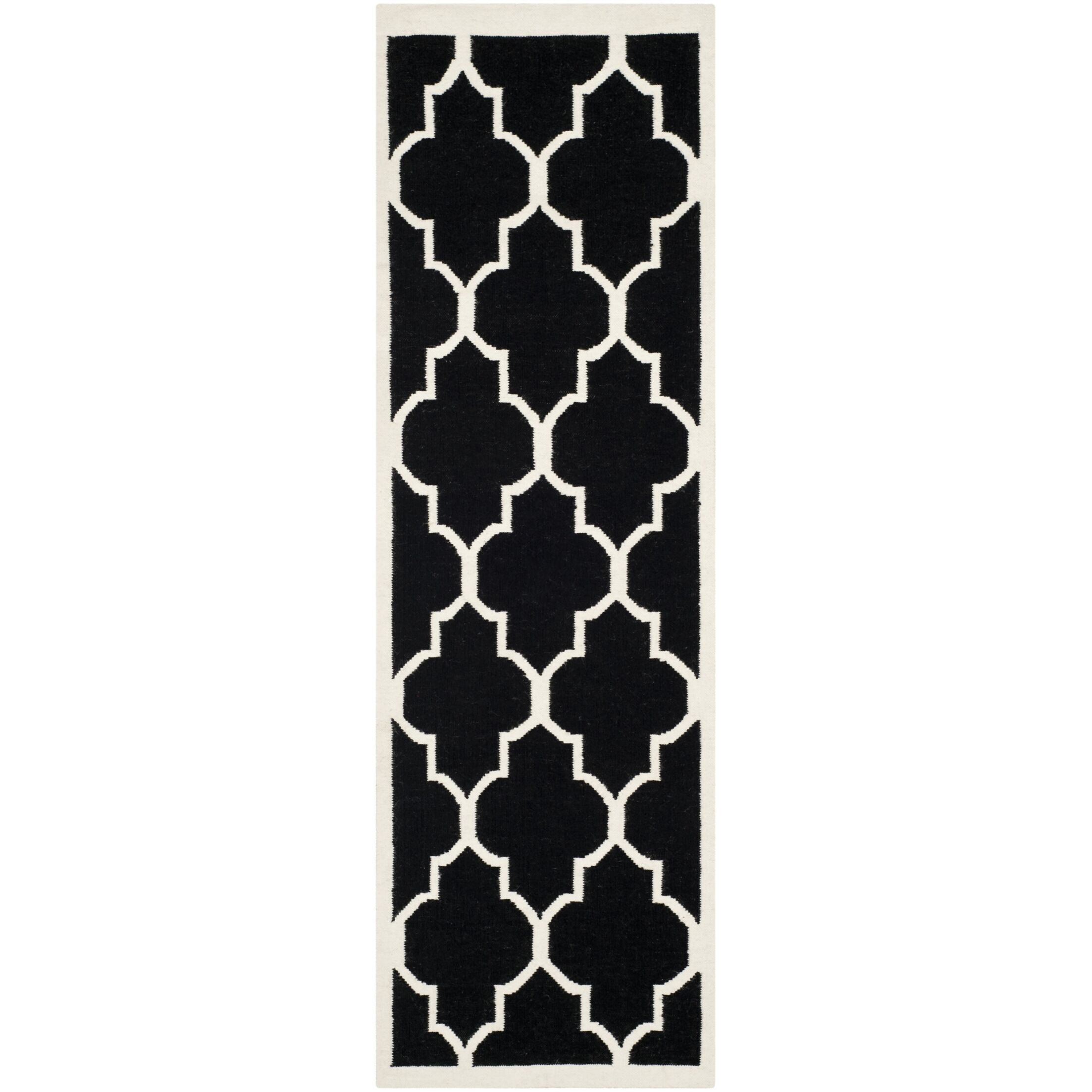 Dhurries Hand-Woven Wool Black/Ivory Area Rug Rug Size: Runner 2'6