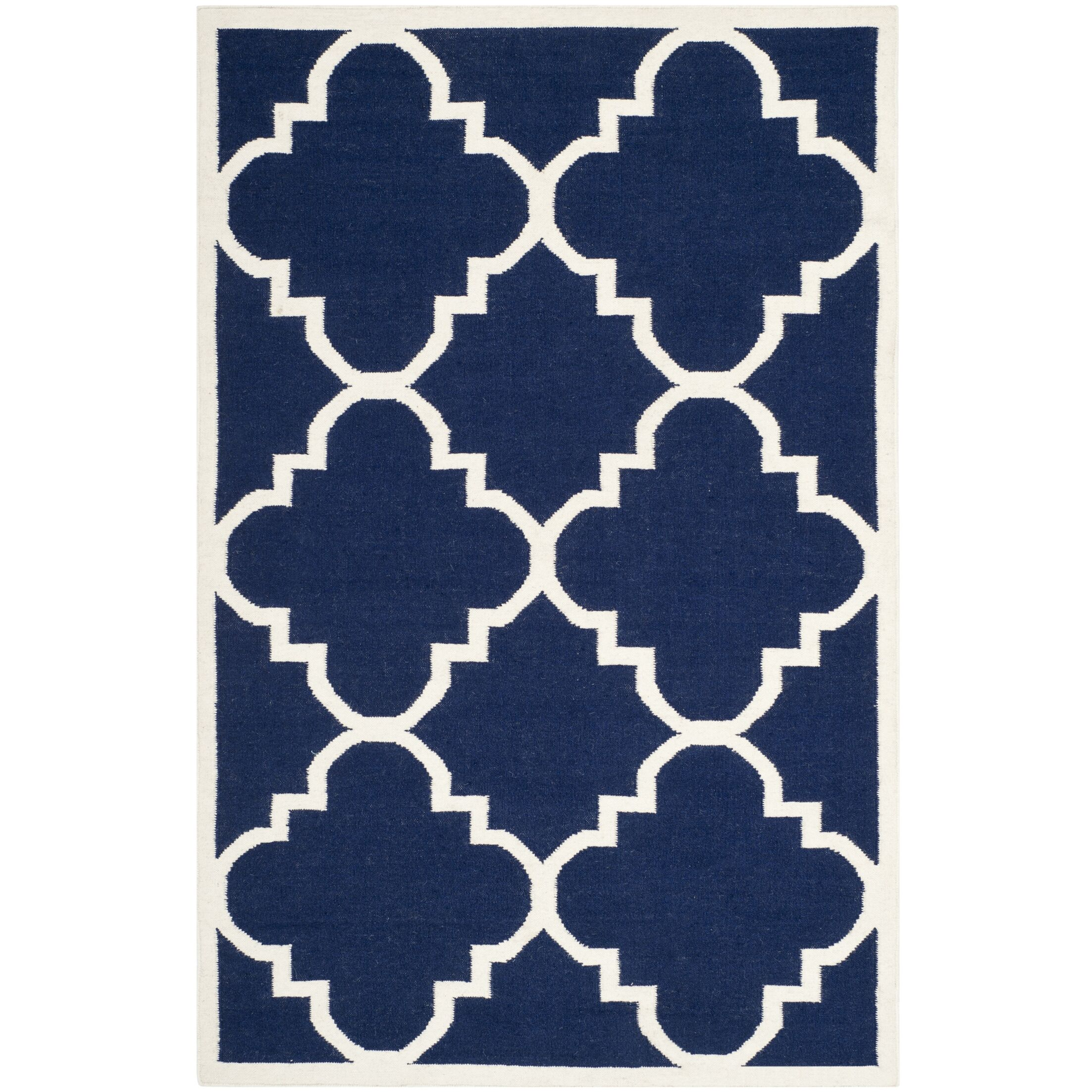 Dhurries Hand-Woven Wool Navy/Ivory Area Rug Rug Size: Rectangle 10' x 14'