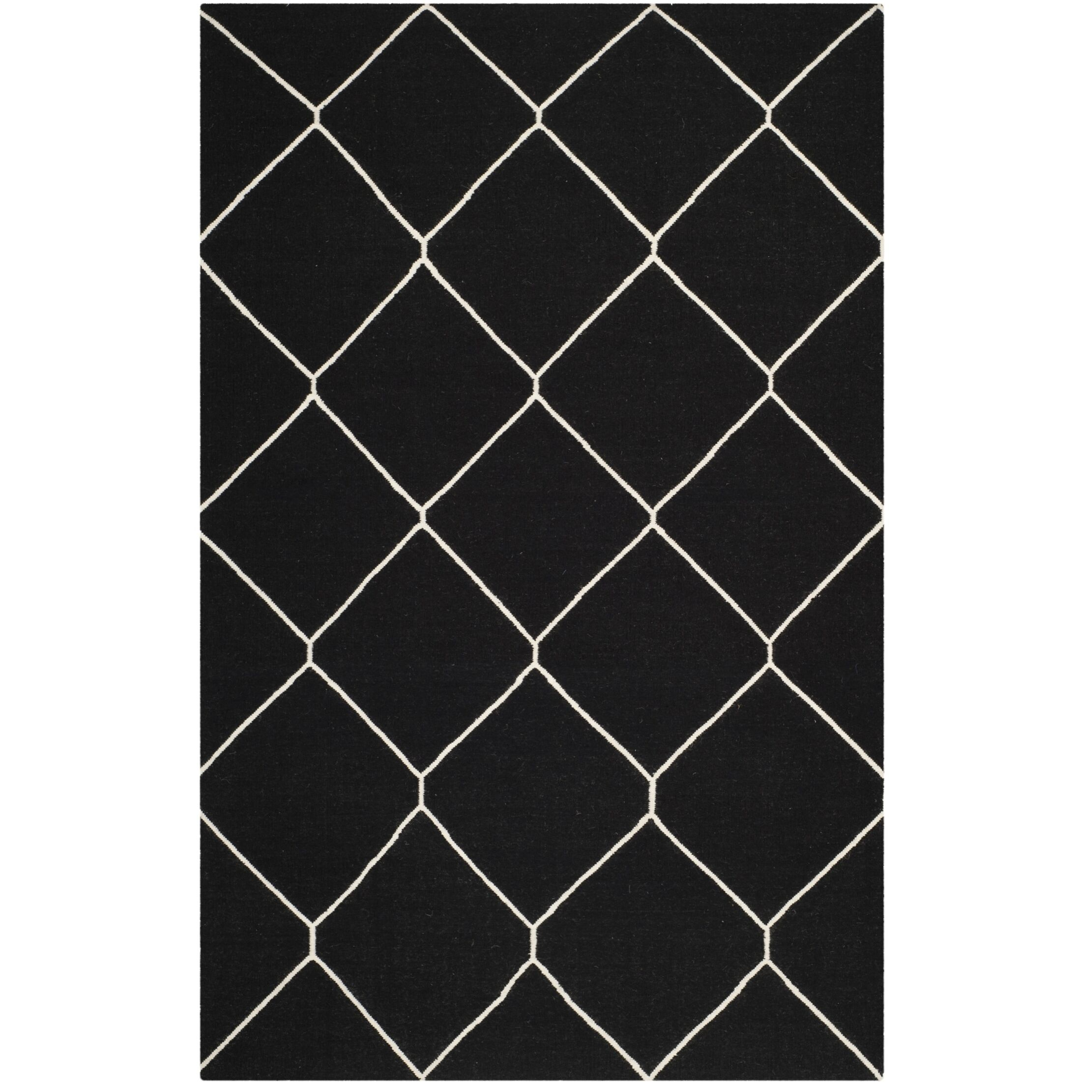Dhurries Black/Ivory Area Rug Rug Size: Rectangle 6' x 9'